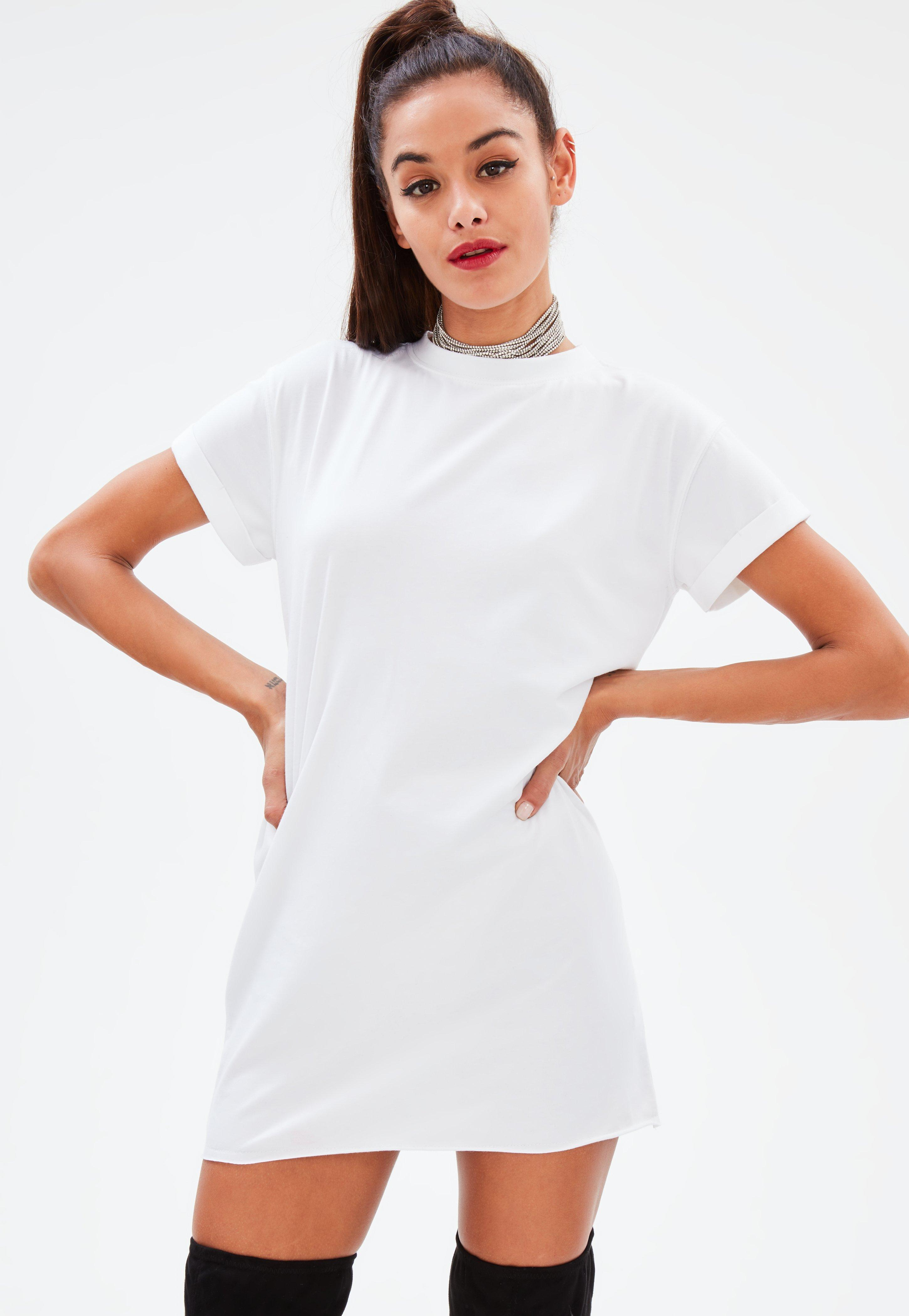 Lyst Missguided Petite White Washed T Shirt Dress In White