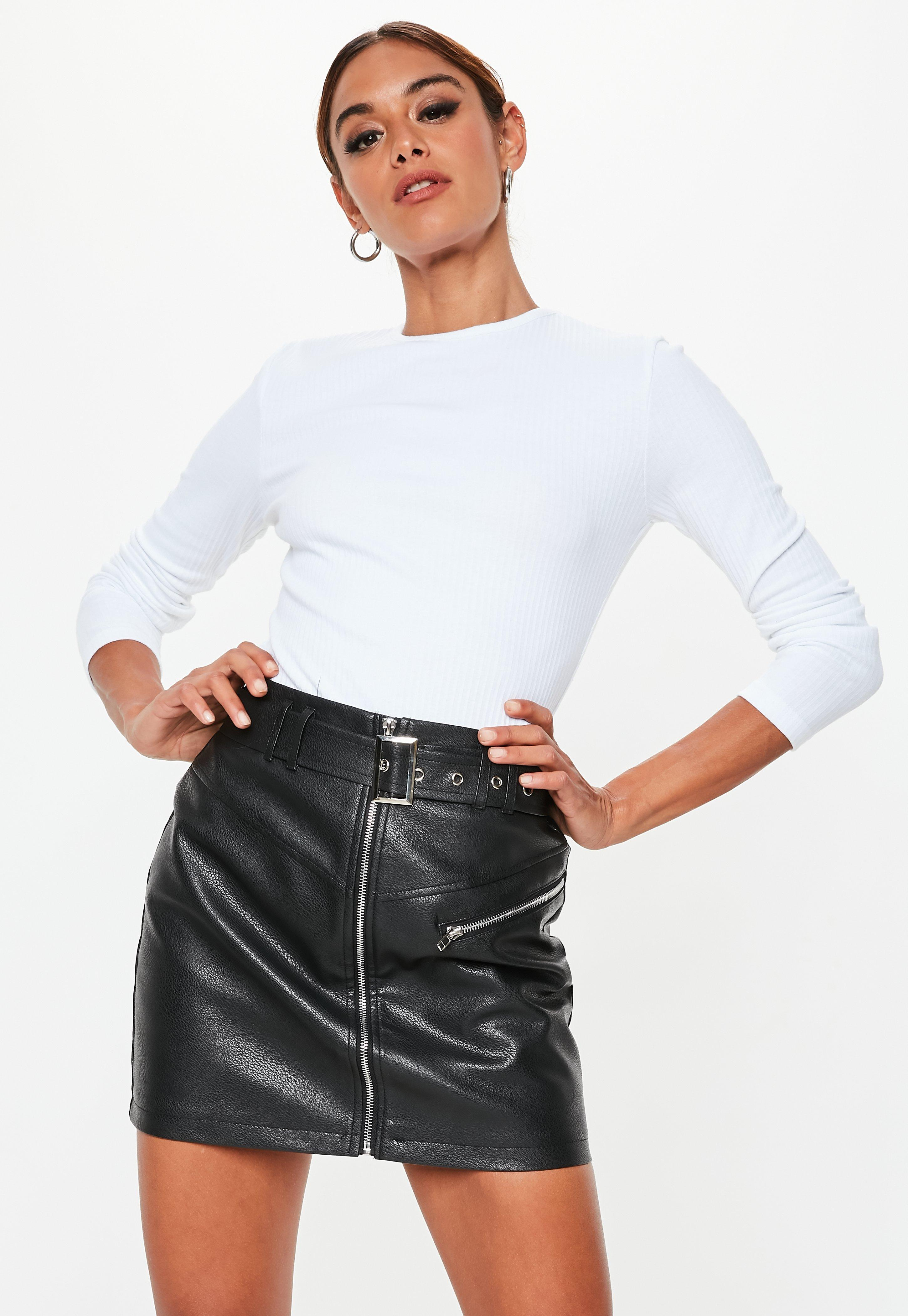 4aff604b601 Lyst - Missguided Tall White Crew Neck Ribbed Top in White