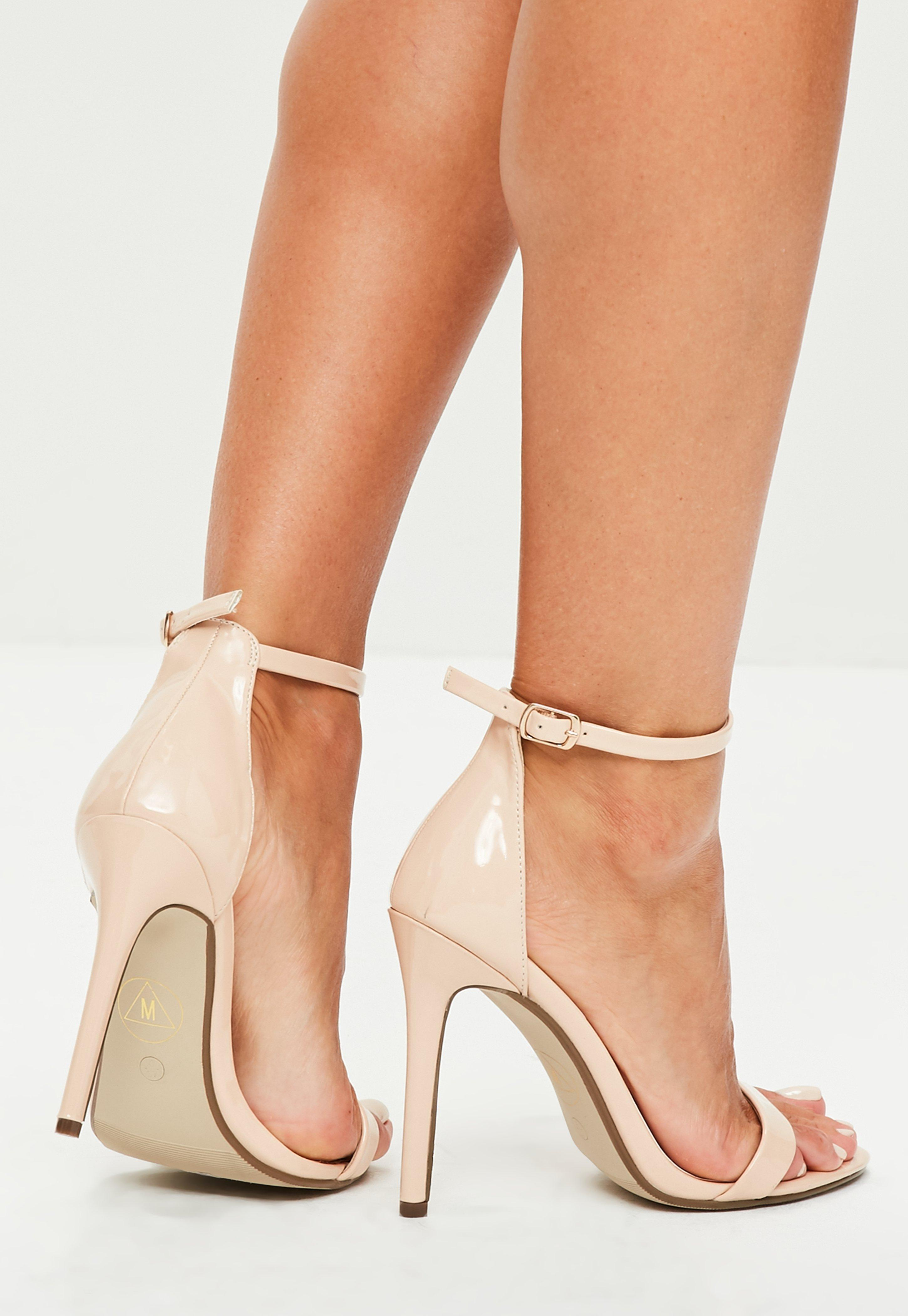 Nude Patent Ankle Strap Heels   Online Fashion Store