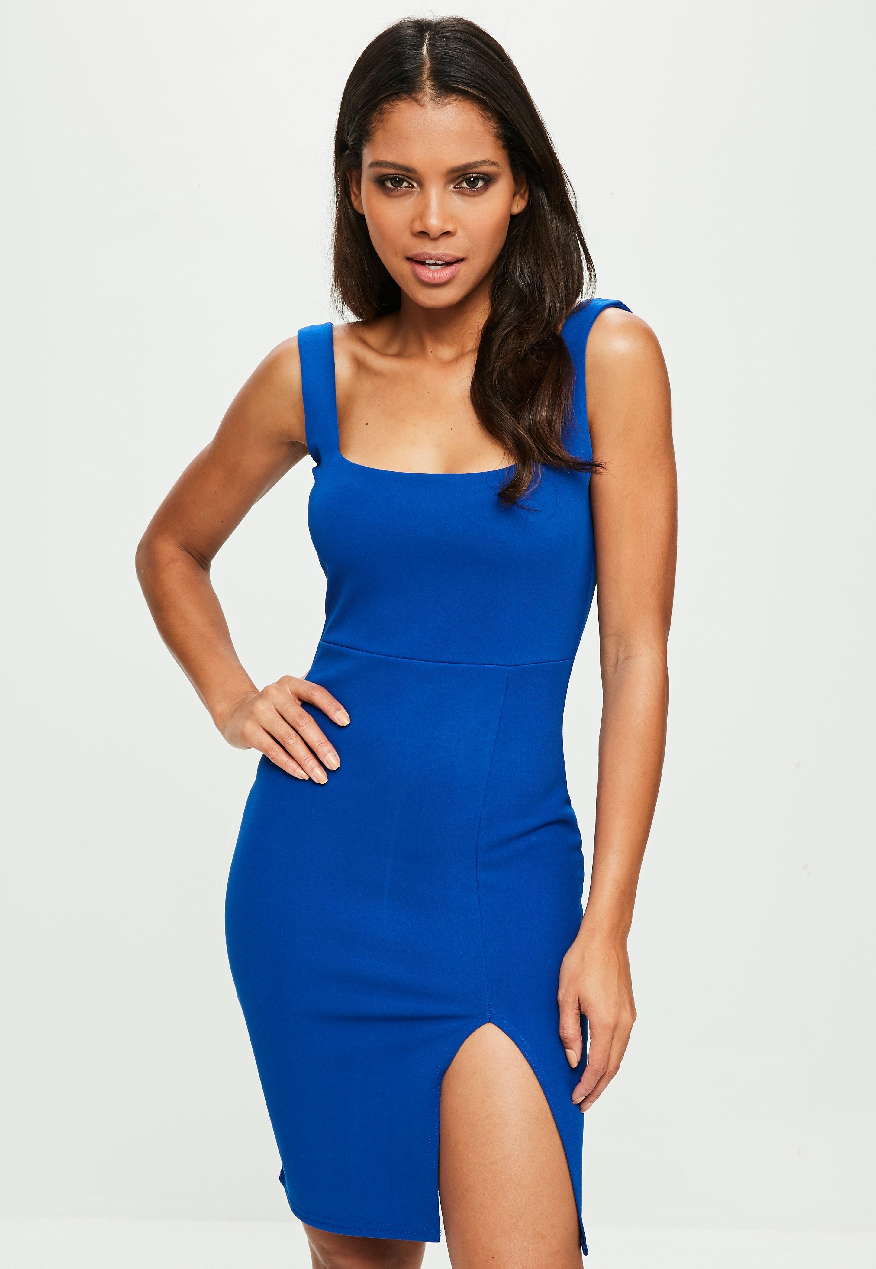 991d549eb Lyst - Missguided Blue Square Neck Side Split Mini Dress in Blue