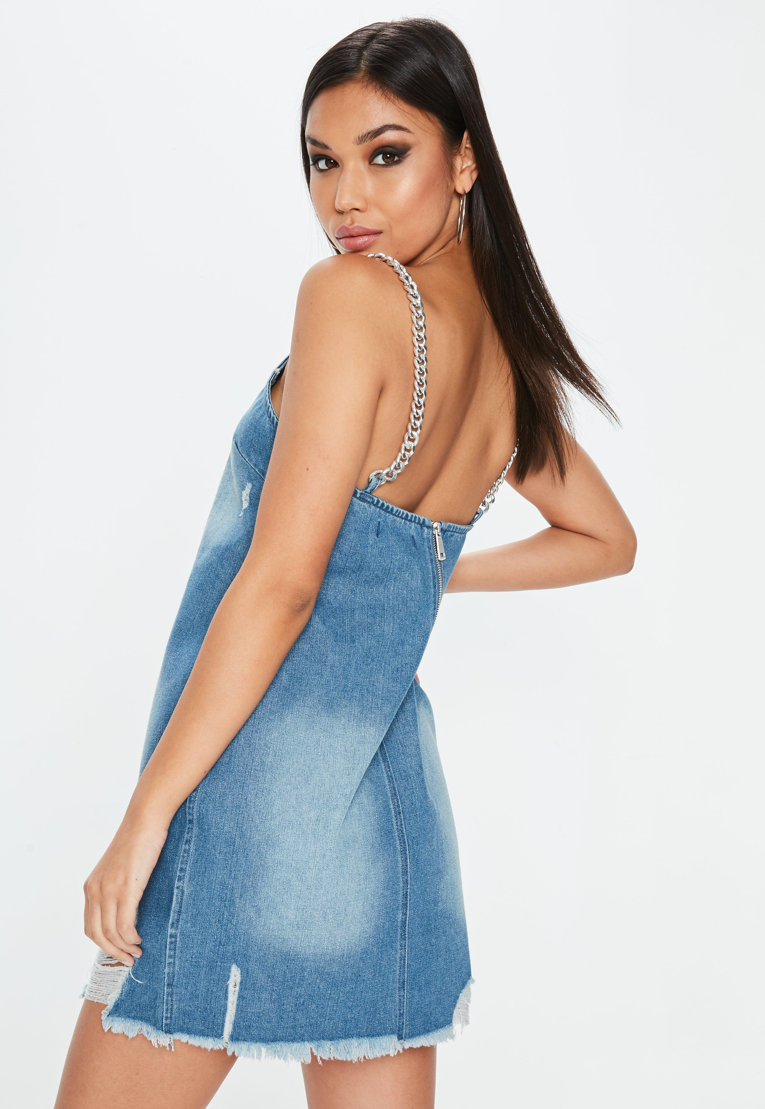ee9e09a3d0 Missguided Blue Denim Chain Strap Frayed Hem Cami Dress in Blue - Lyst