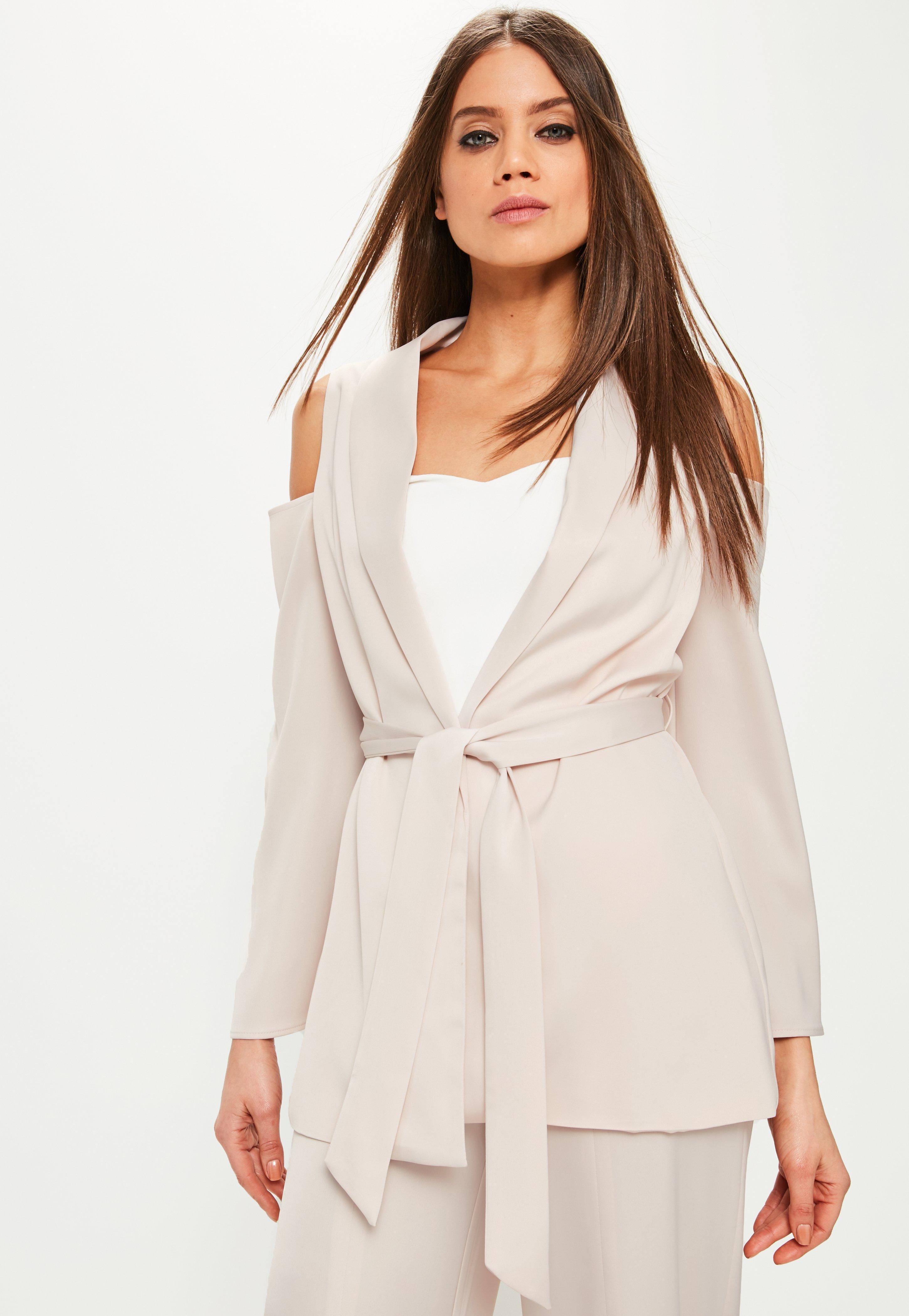ae332ba4274882 Missguided Pink Cold Shoulder Tie Waist Satin Blazer in Pink - Lyst