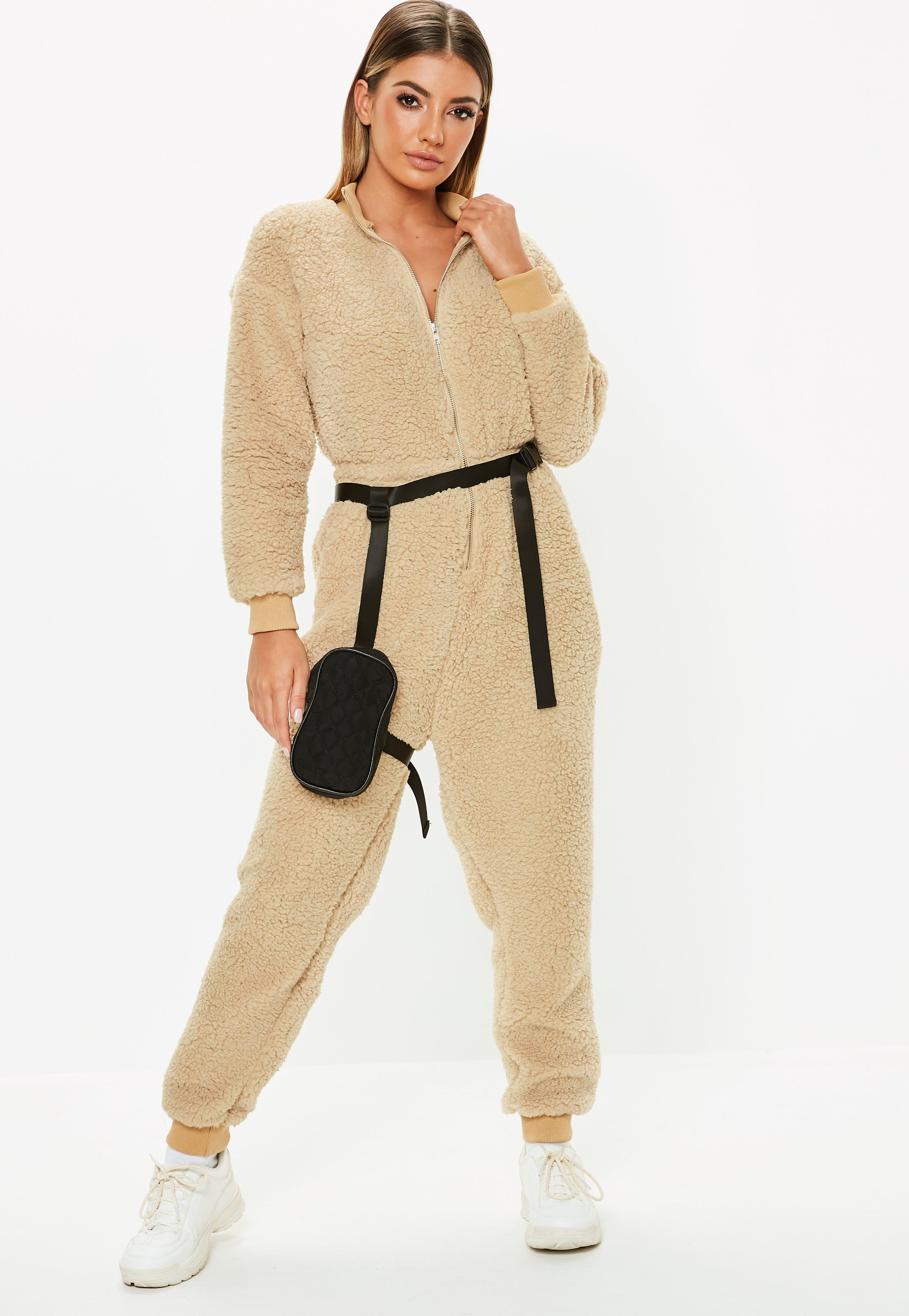 ee9c7c89d904 Lyst - Missguided Nude Teddy Long Sleeve Jumpsuit in Natural