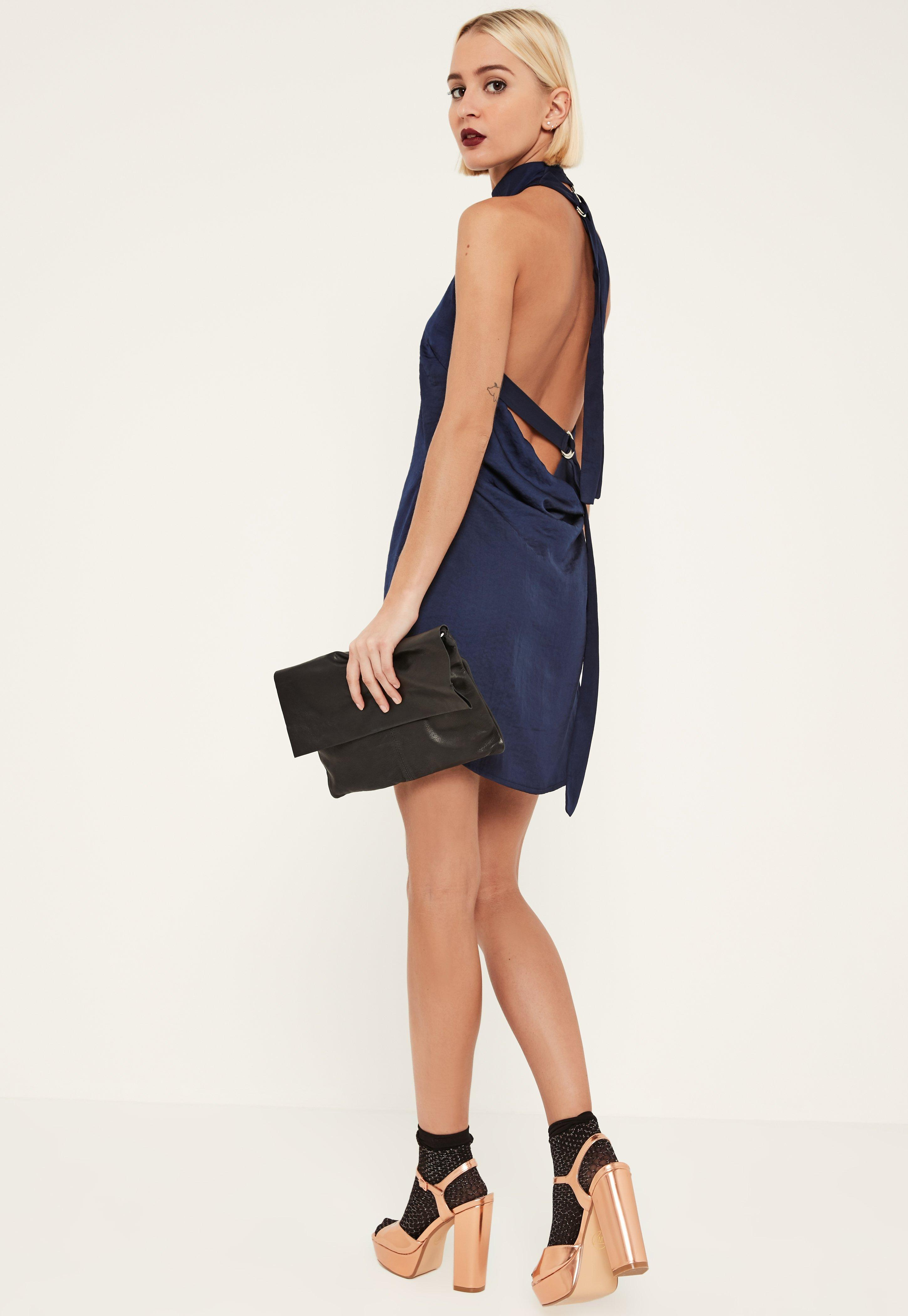648d0607bf Lyst - Missguided Navy Tie Neck Shift Dress in Blue