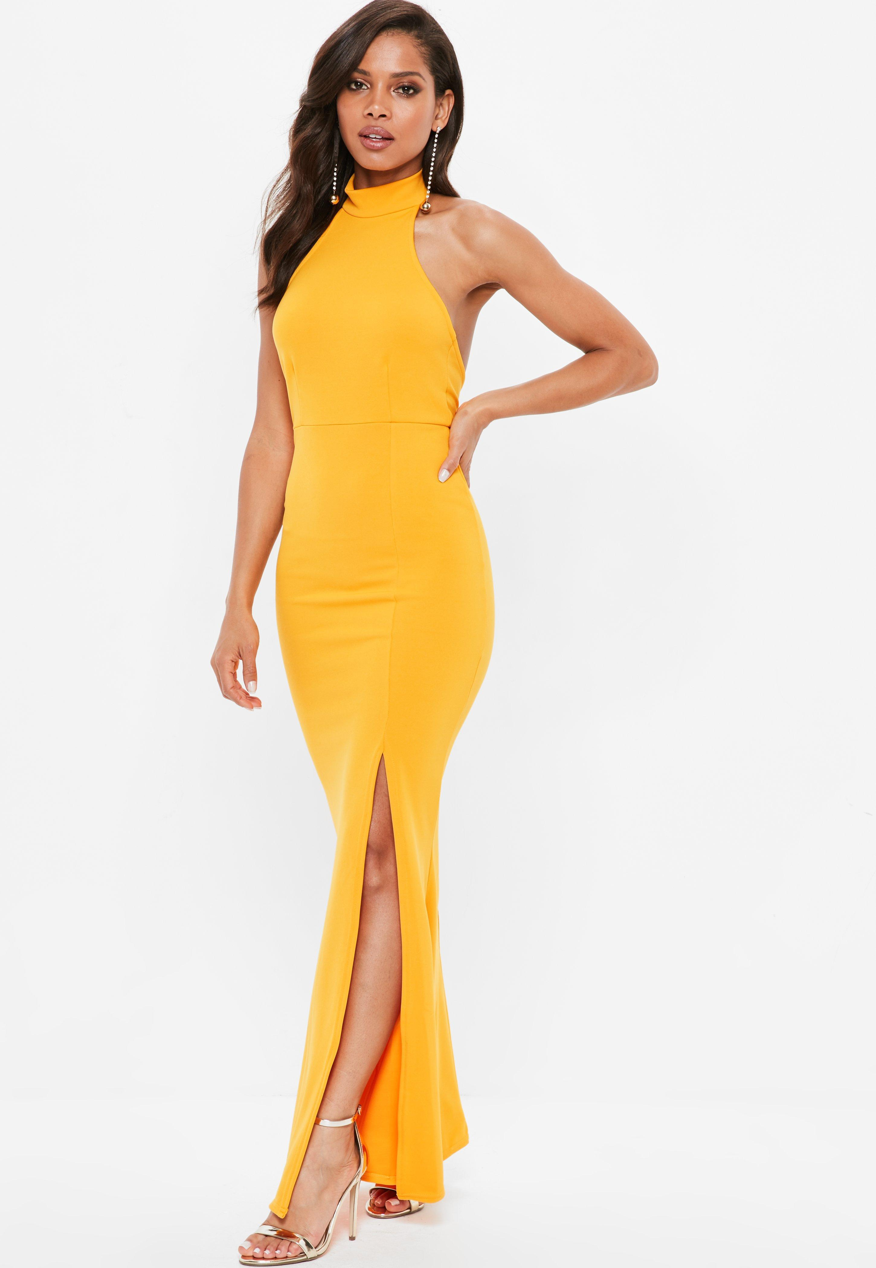 e613adc338 Lyst - Missguided Yellow Choker Halterneck Low Back Maxi Dress in Yellow
