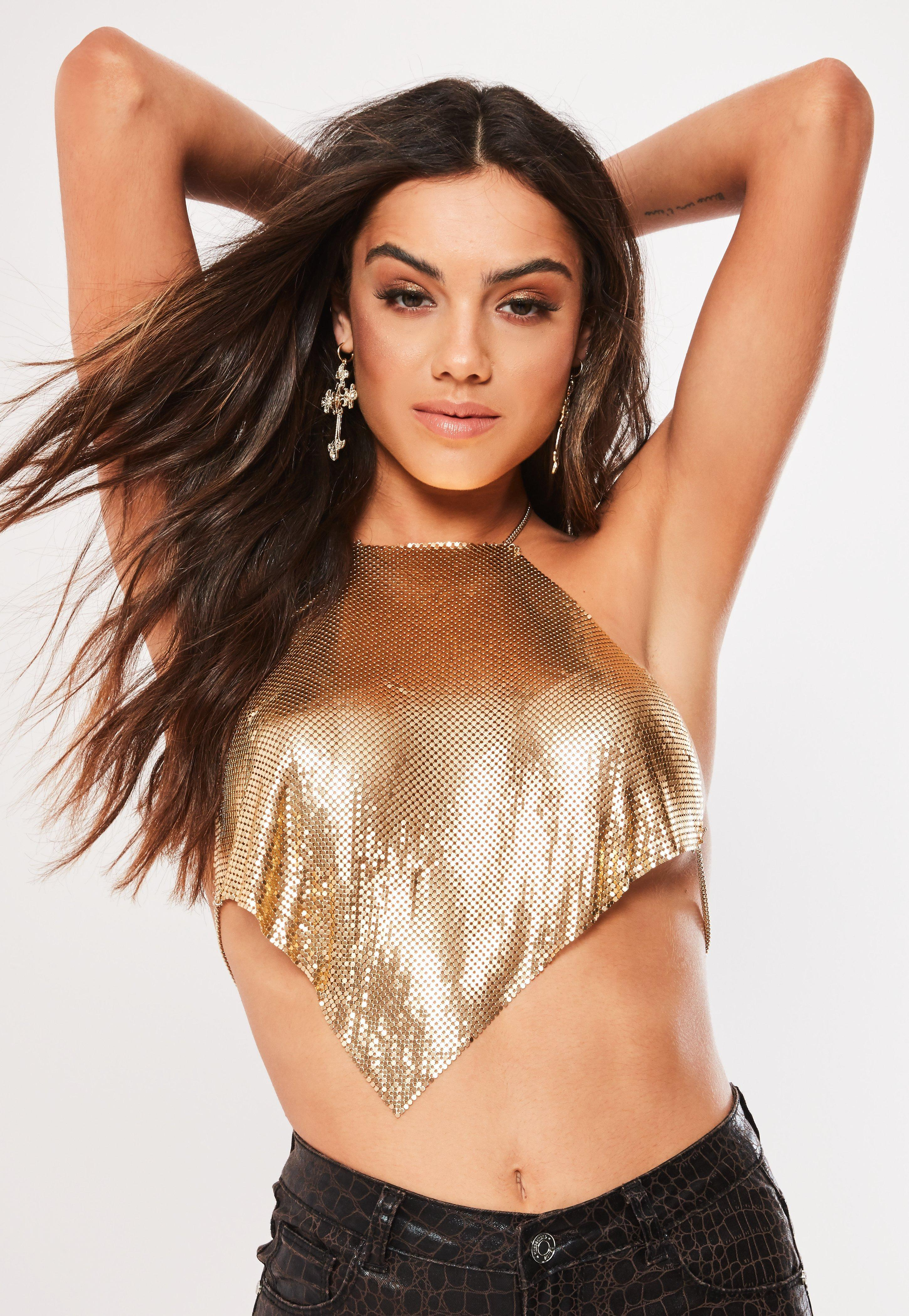 bd15b1eea93959 Missguided - Metallic Gold Look Chain Mail Top - Lyst. View fullscreen