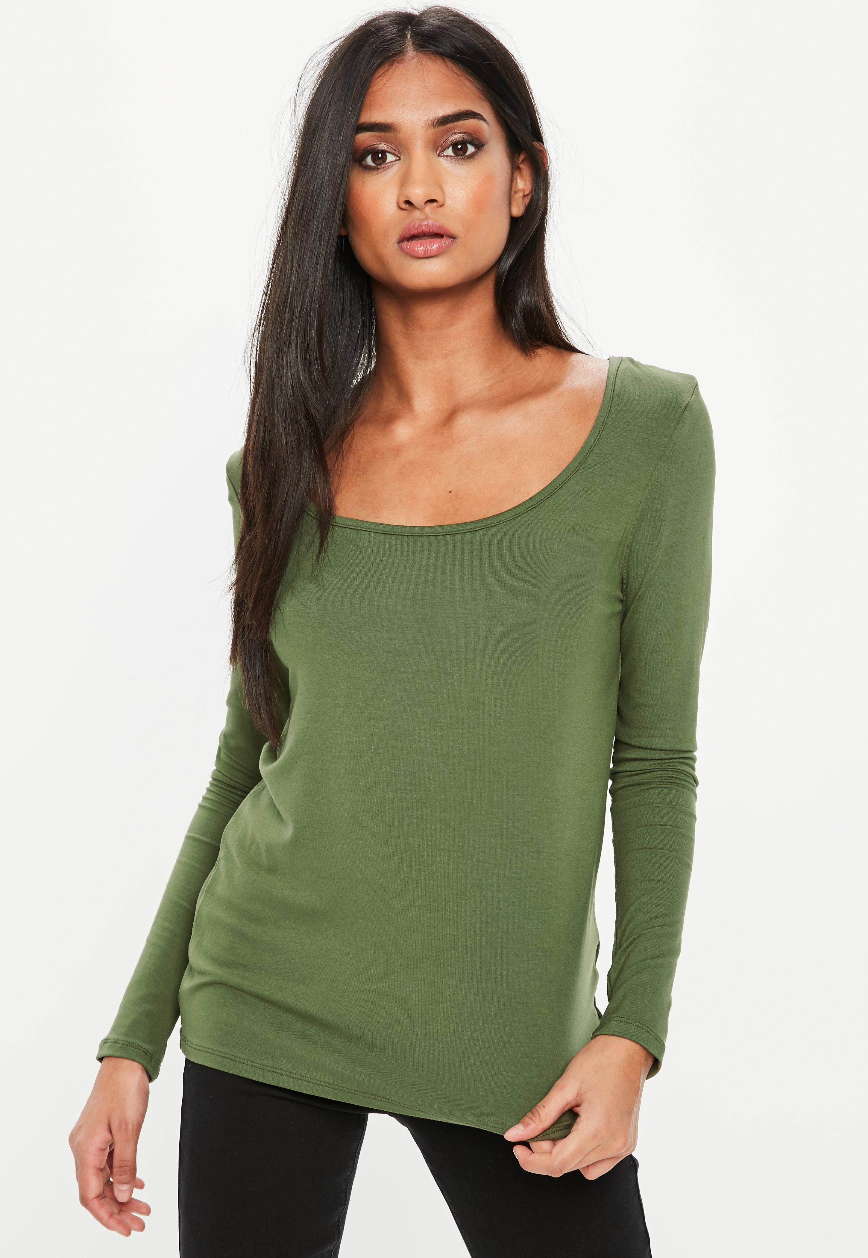 Lyst missguided khaki long sleeve loose fit scoop neck t for Scoop neck long sleeve shirt