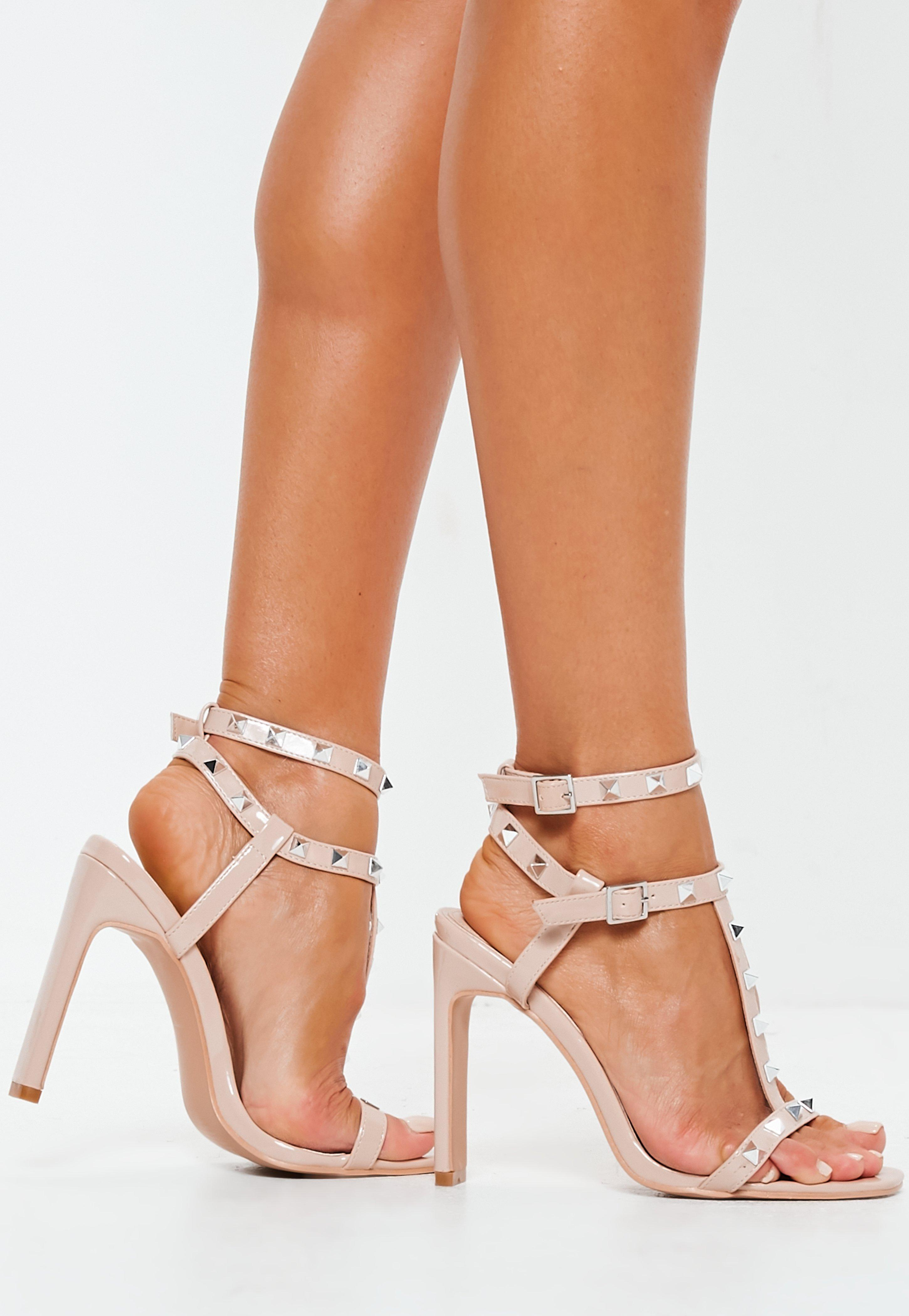 fa497ef6022d Missguided Nude Bar Studded Heel Sandals in Natural - Lyst
