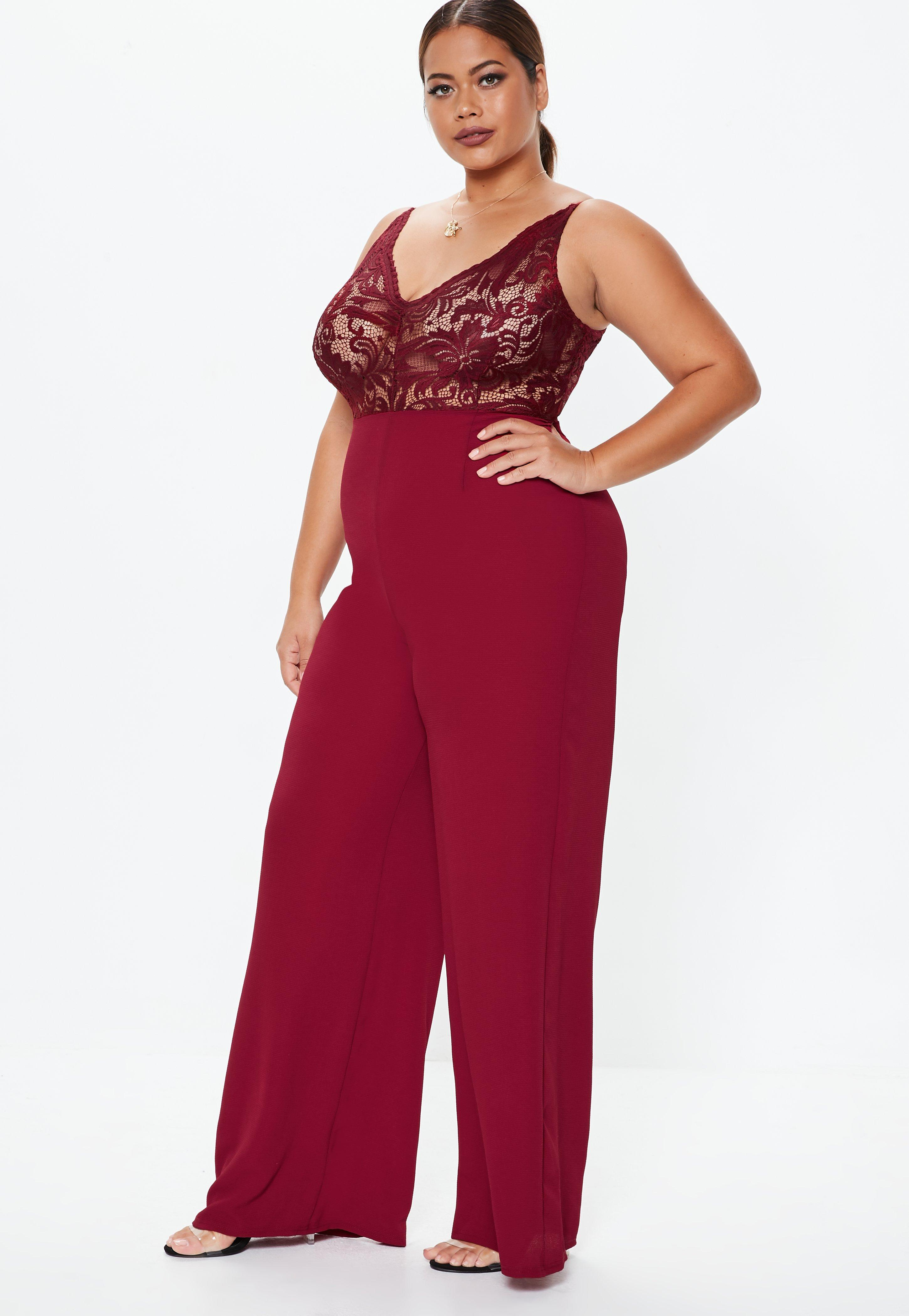 4add684e4c1 Missguided - Red Plus Size Burgundy Lace Plunge Wide Leg Jumpsuit - Lyst.  View fullscreen