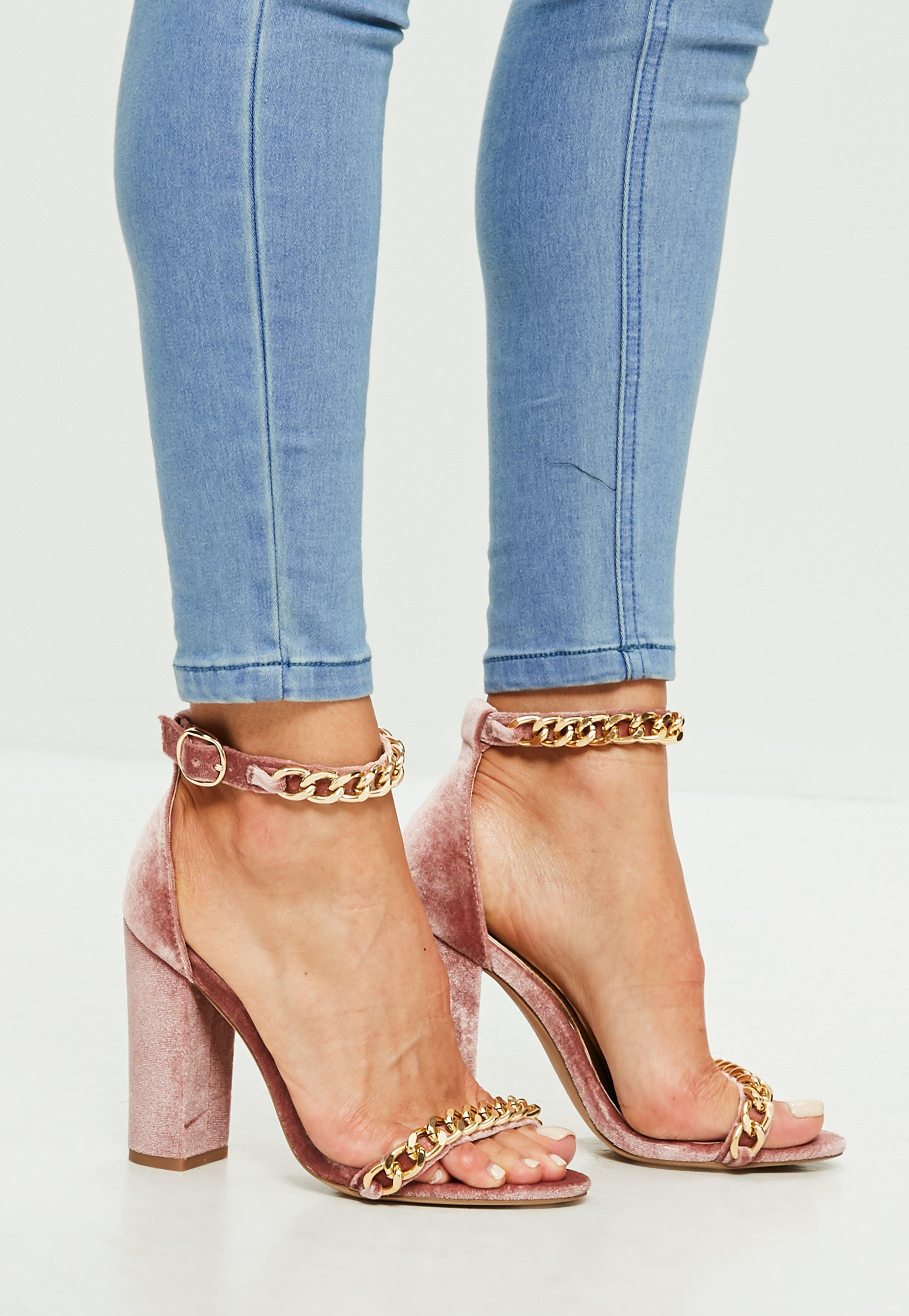 c56263d0bcf Lyst - Missguided Pink Chain Block Heeled Sandals in Pink