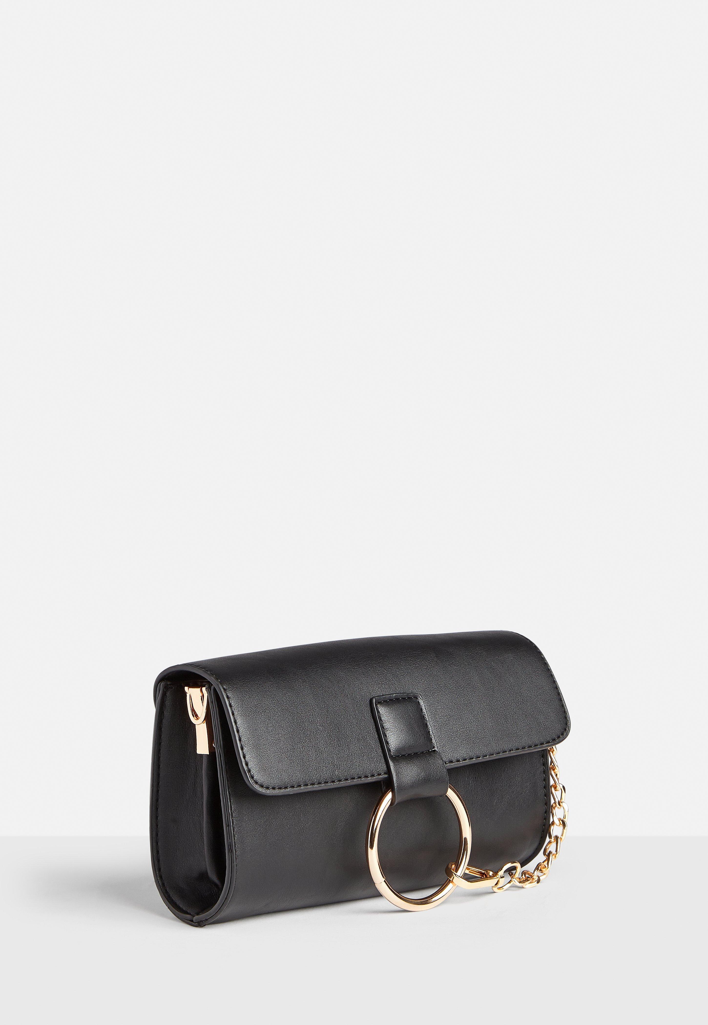ae7e4160ff248 Missguided Black Ring Detail Clutch Bag in Black - Lyst