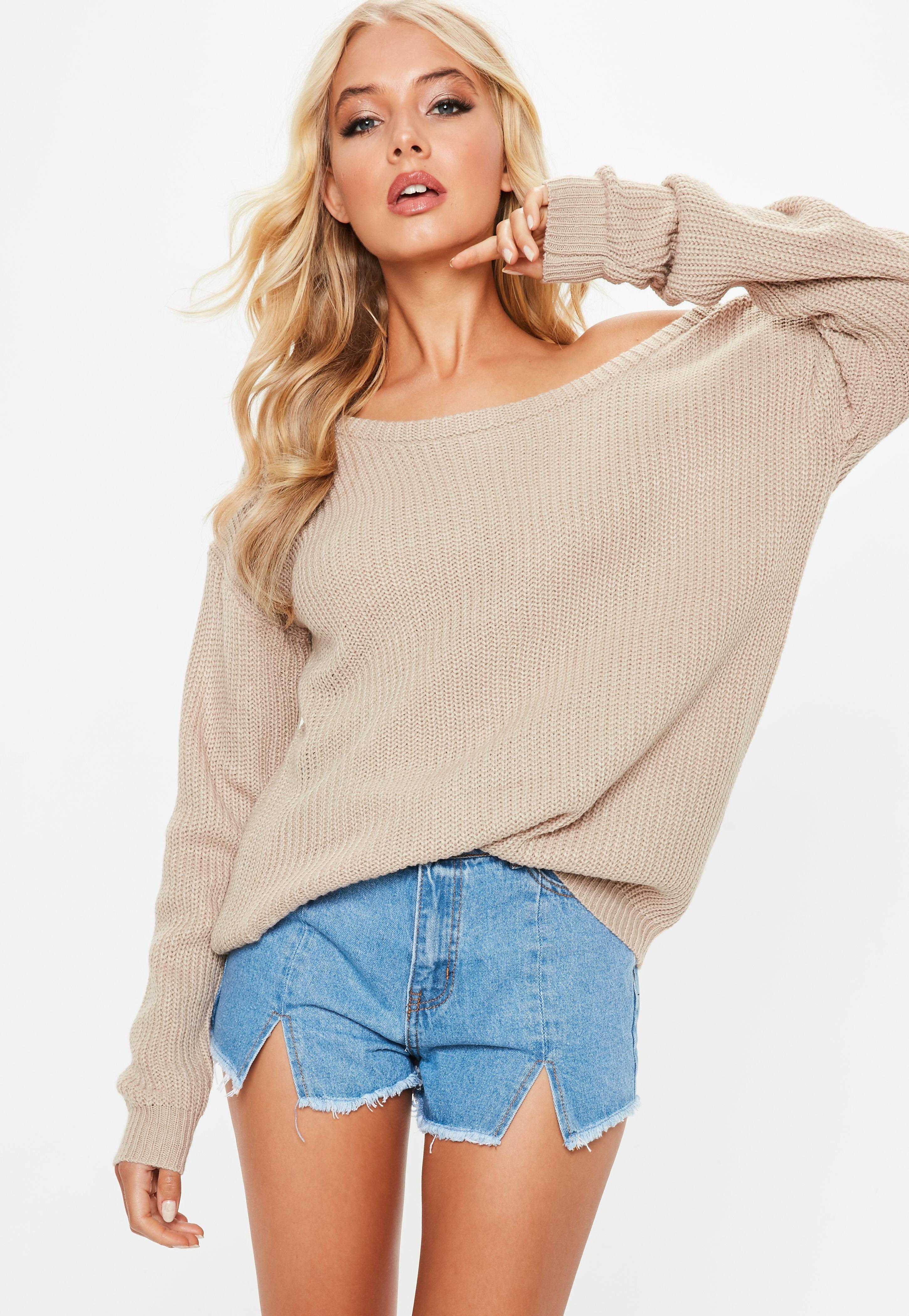 9553a7a35b4 Lyst - Missguided Ophelita Beige Off Shoulder Knitted Jumper in Natural