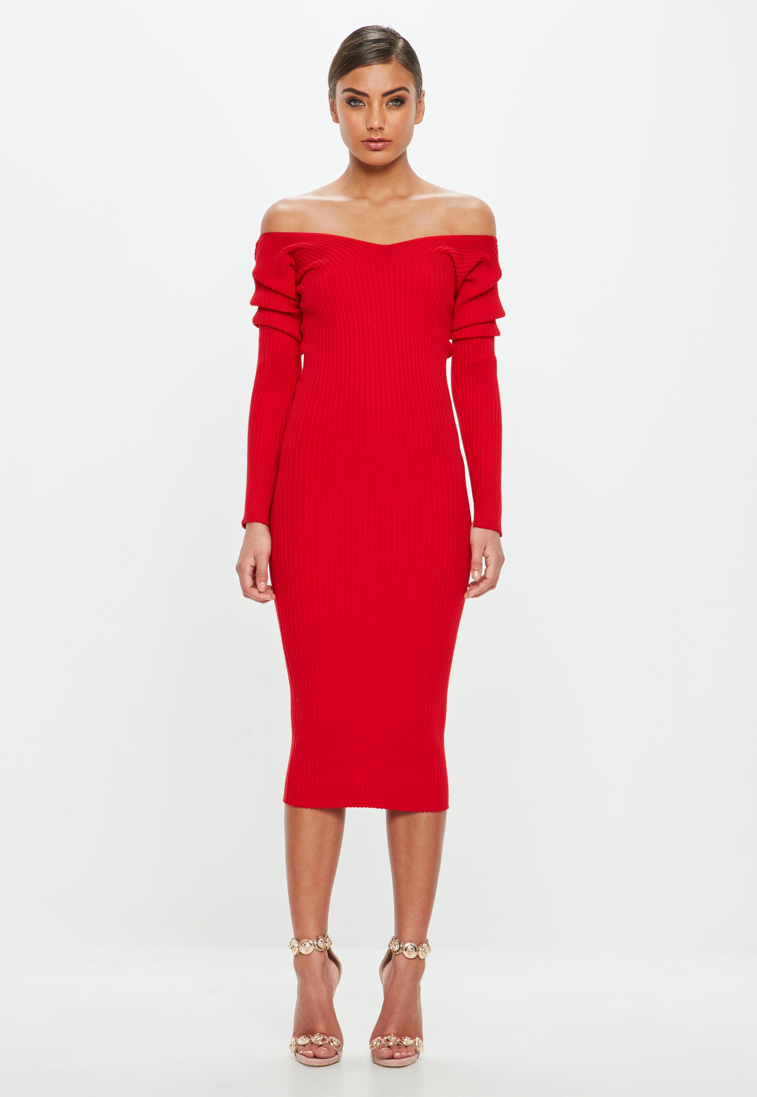 7945ded2d9a Lyst - Missguided Peace + Love Red Off The Shoulder Midi Dress in Red