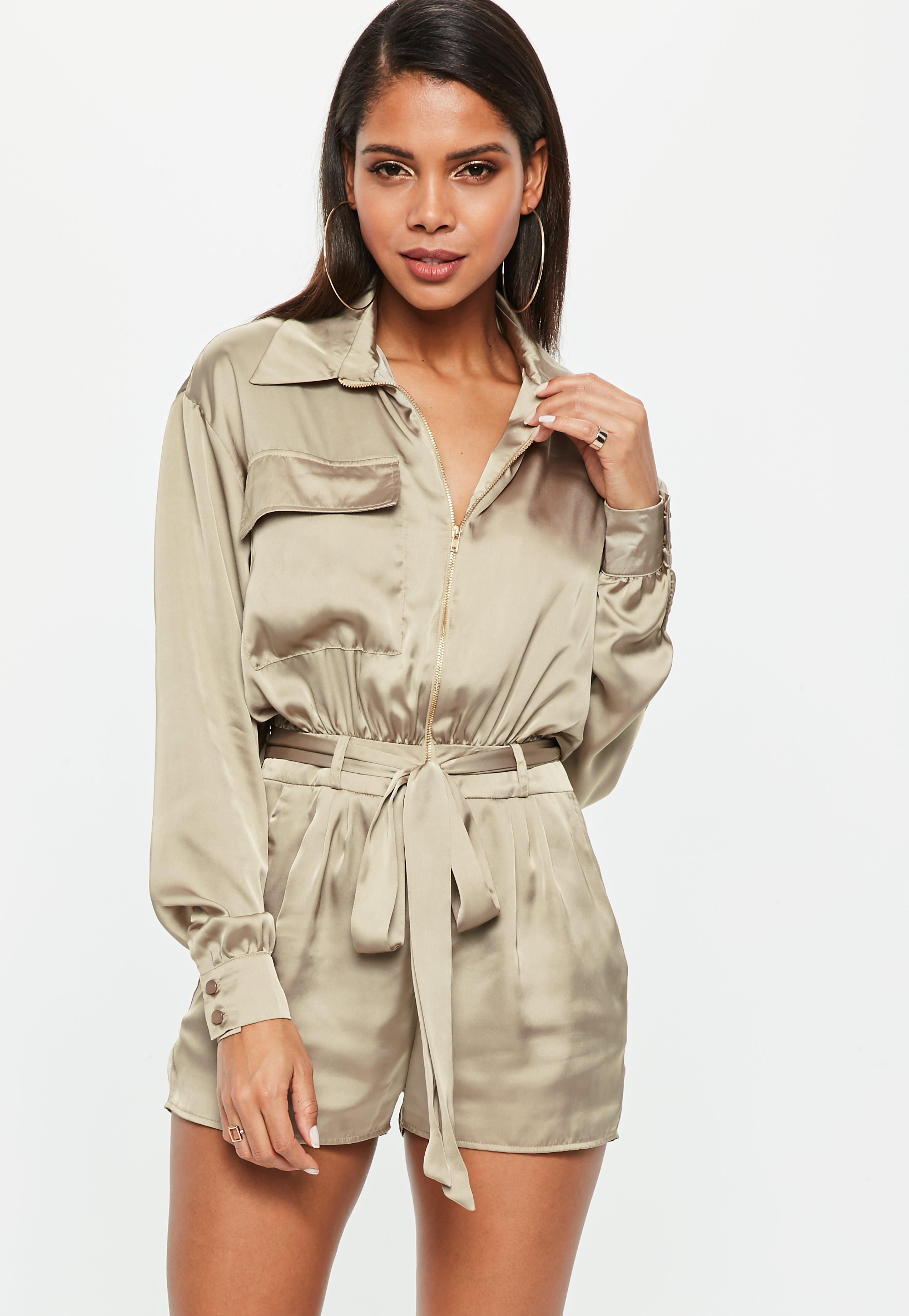 2c77e15a25 Missguided Khaki Satin Long Sleeve Utility Belted Playsuit in ...