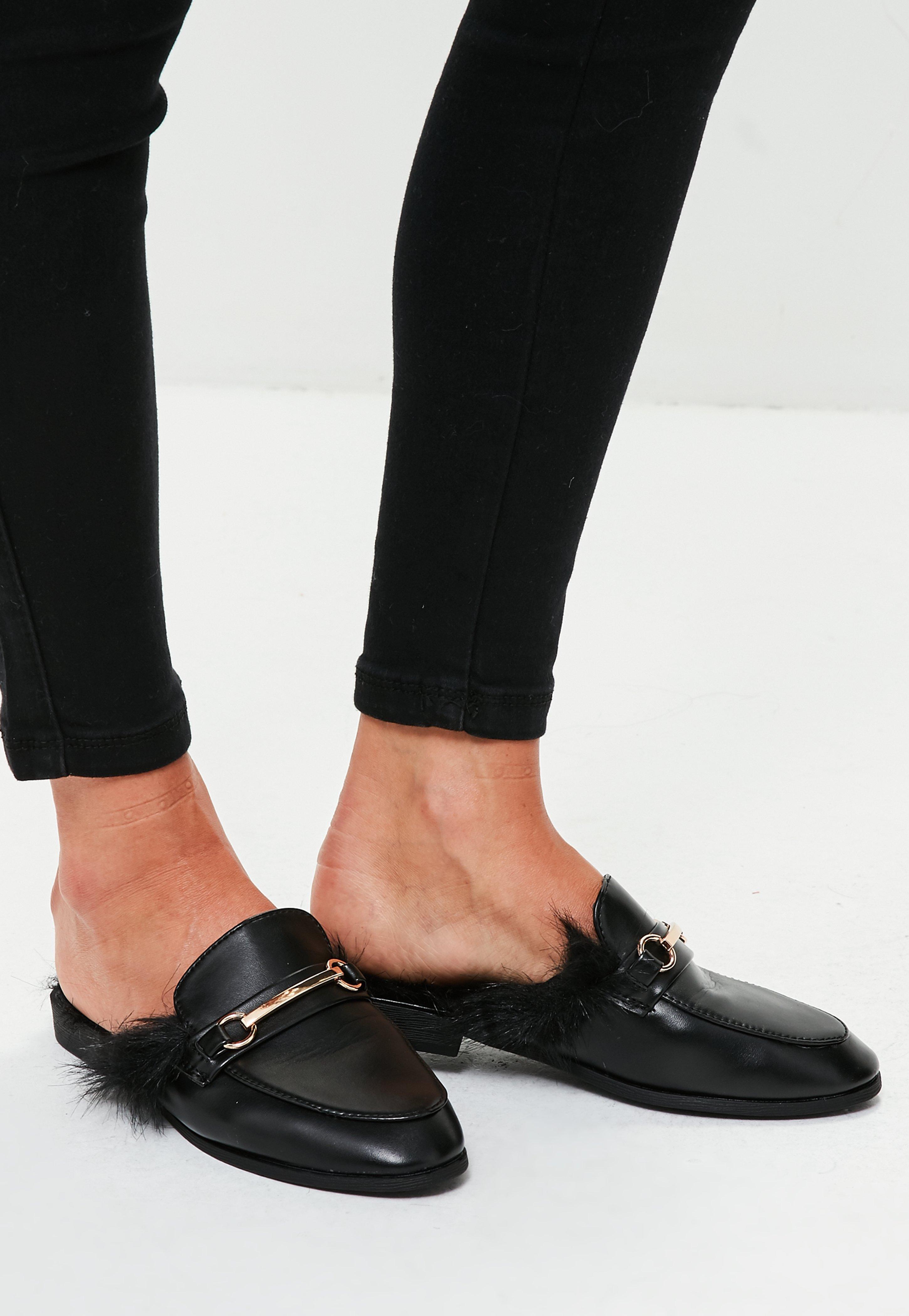 Missguided Black Faux Fur Slip On Mules