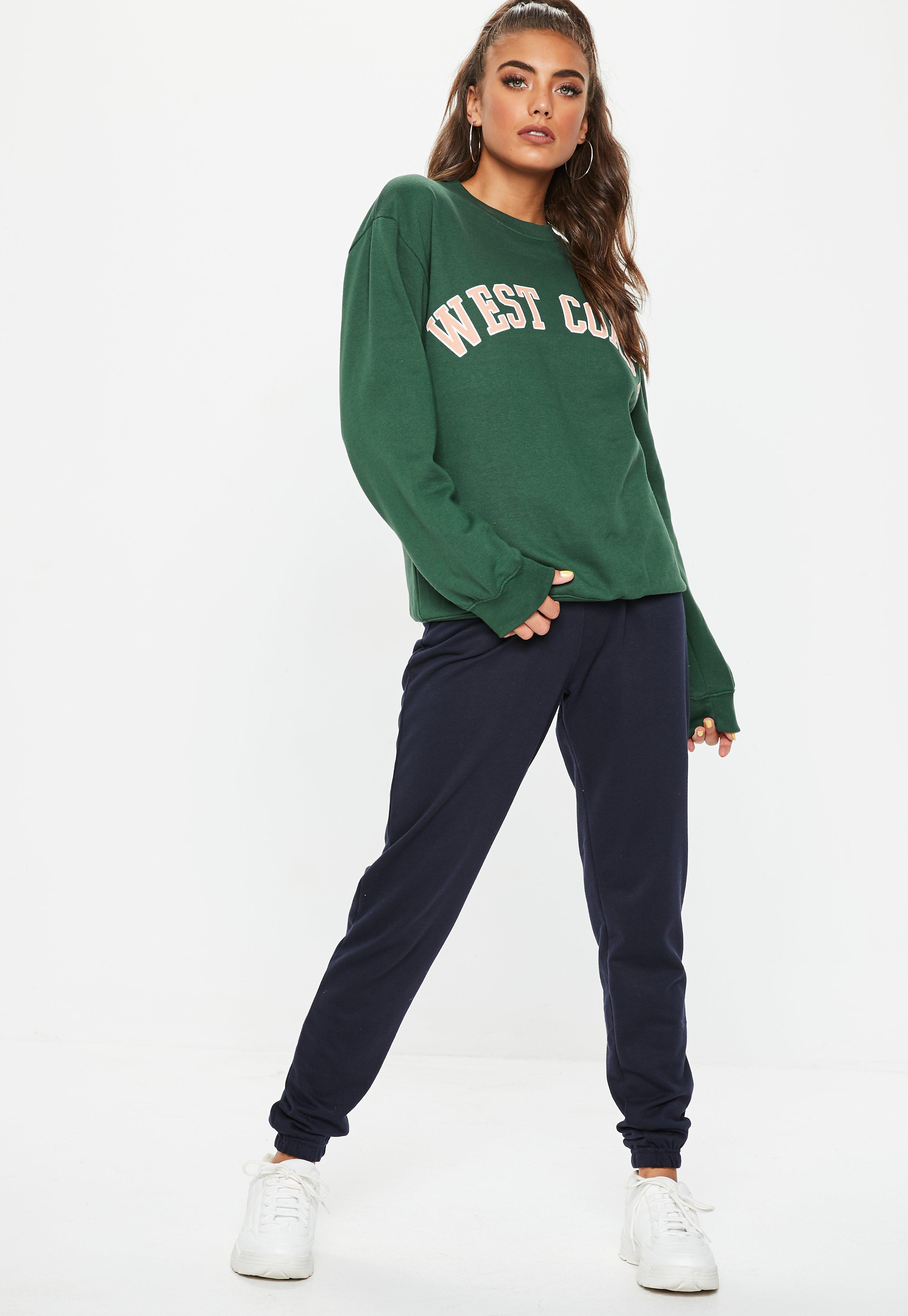 various styles detailed images best quality Missguided Synthetic Green West Coast Slogan Sweatshirt - Lyst