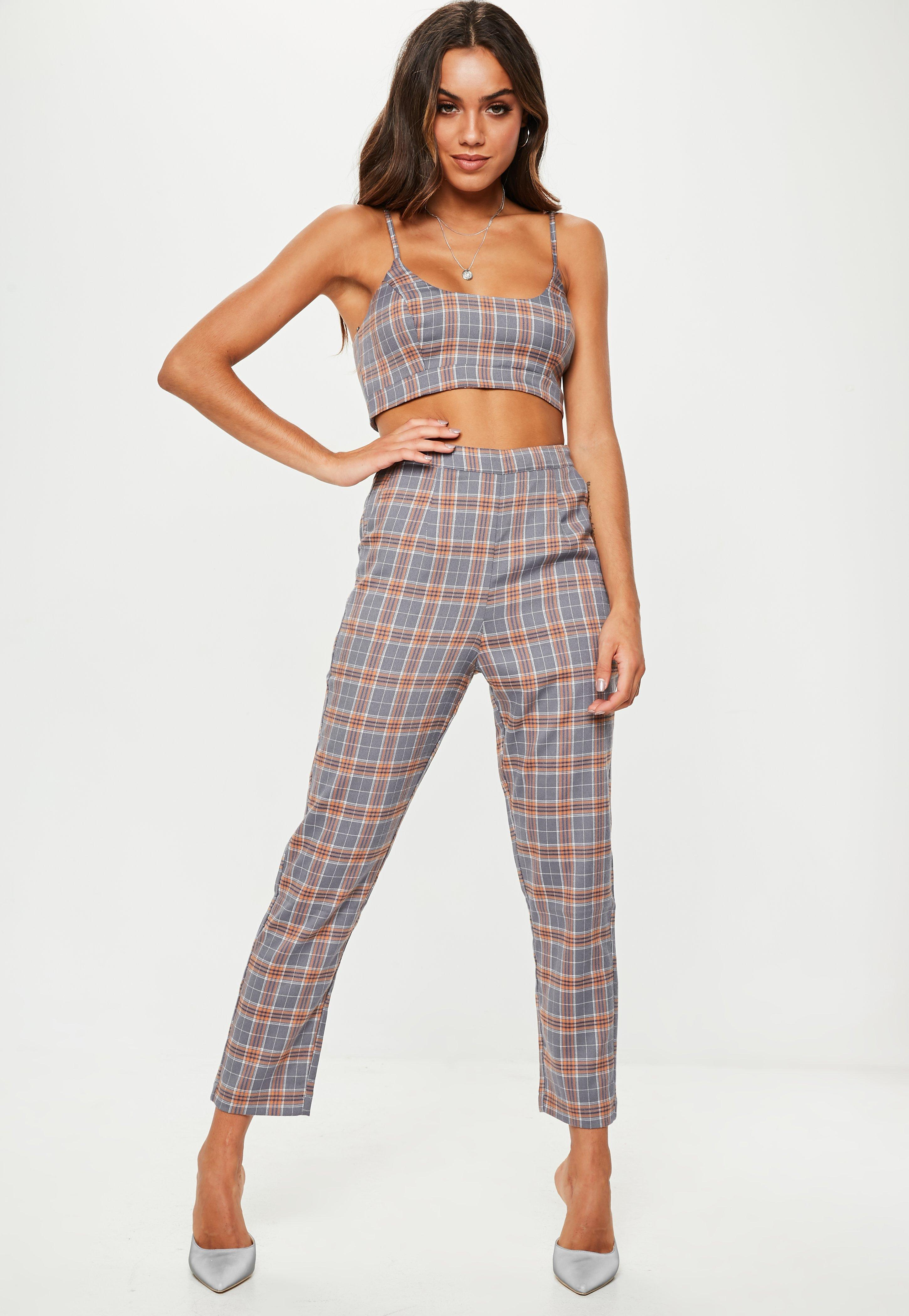 c1ca0d2f47211 Lyst - Missguided Gray Plaid Bralette in Gray