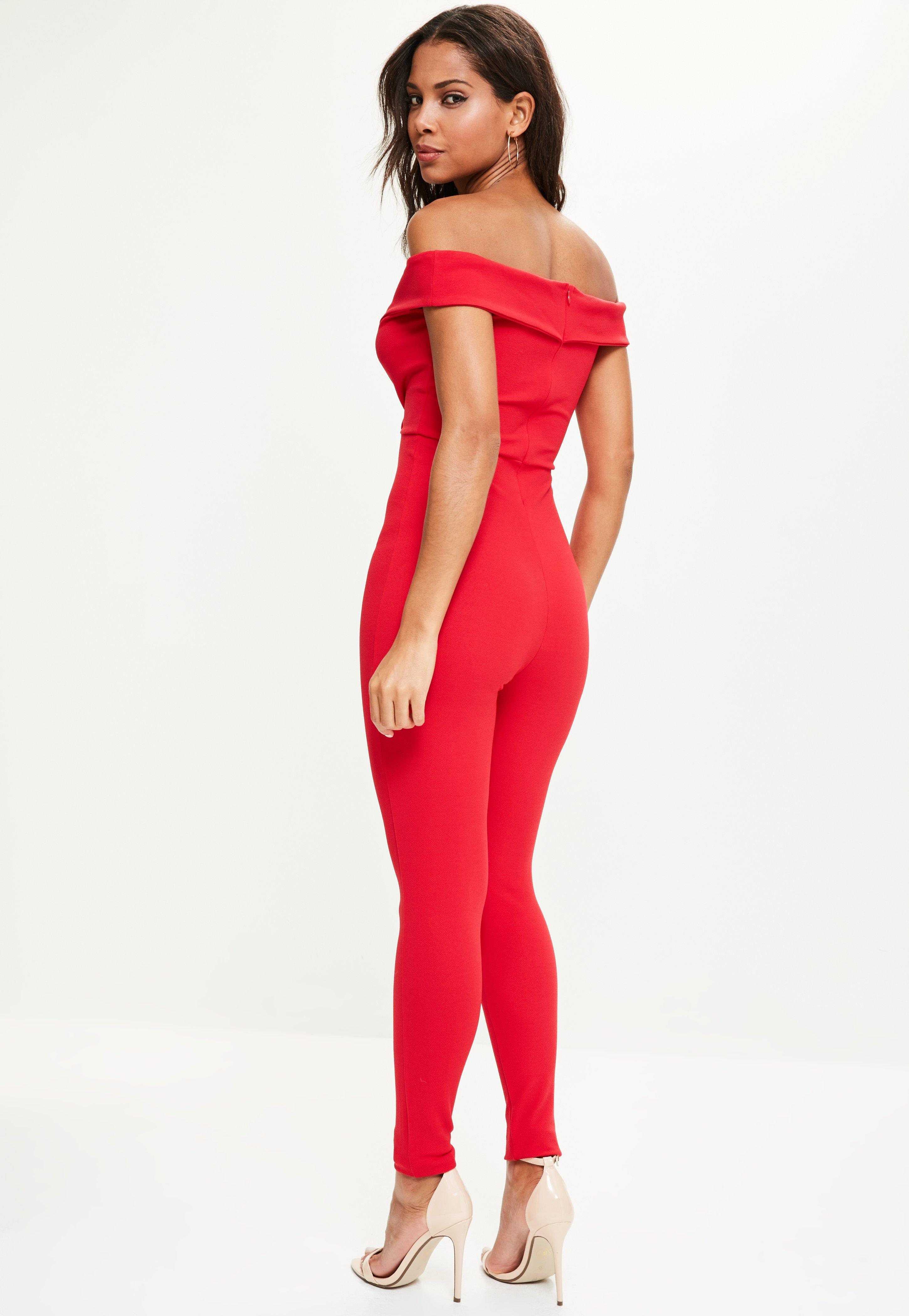 457d765481 Lyst - Missguided Red Wrap Bardot Jumpsuit in Red