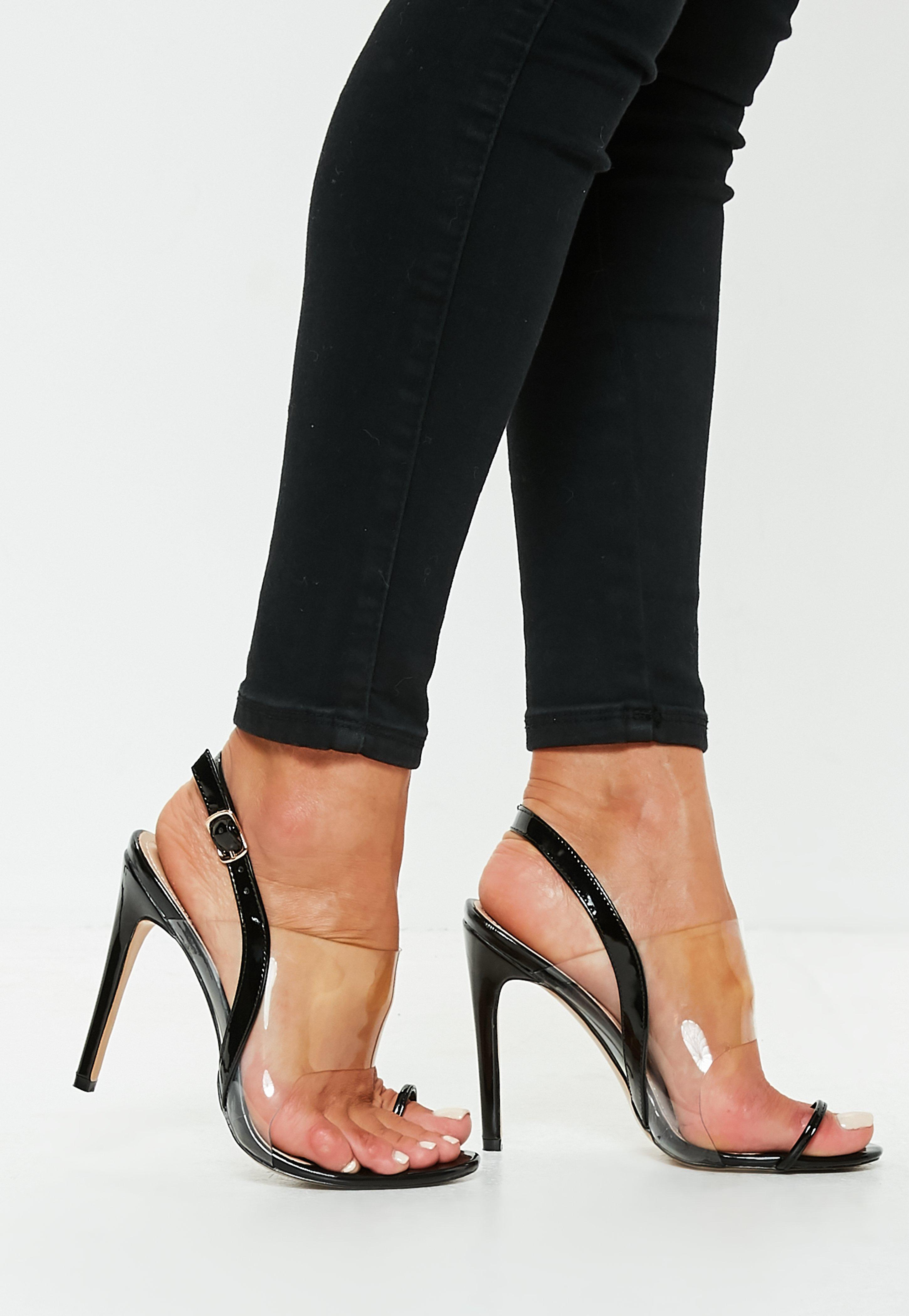 Nude Clear Strap Heels Sexy Transparent Stilettos Ankle
