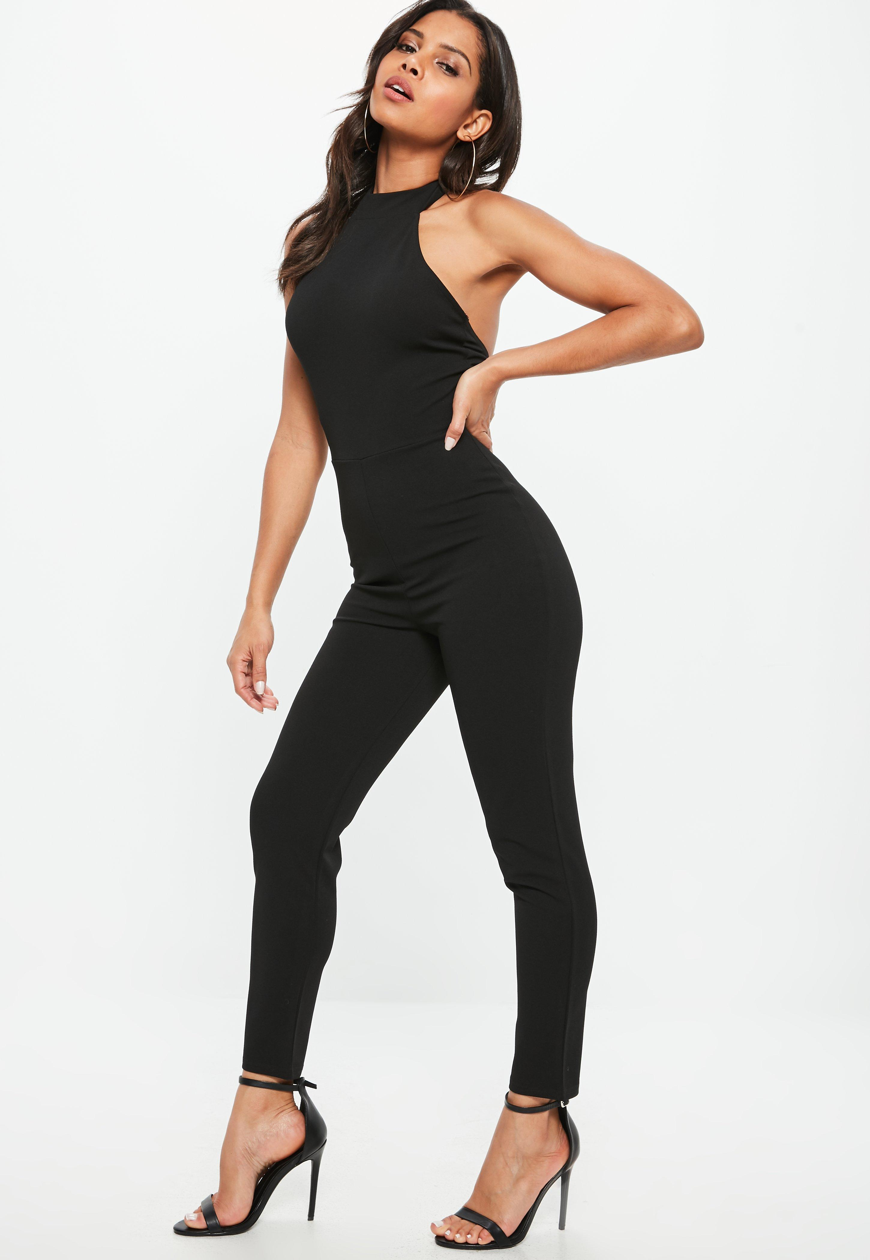 48f055c7a21c Lyst - Missguided Black High Neck Racer Unitard Jumpsuit in Black