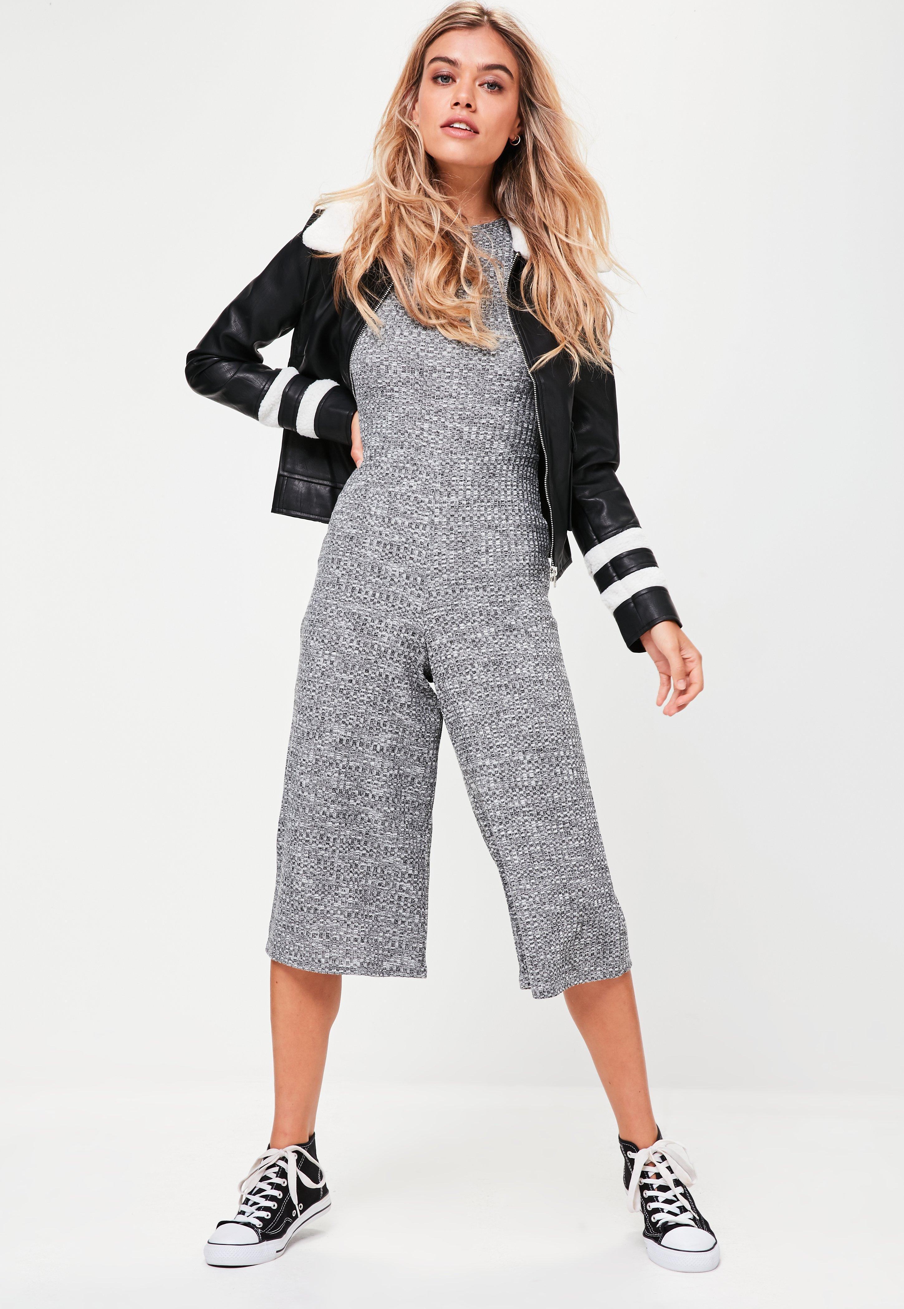 720d86c06523 Lyst - Missguided Grey Ribbed Crew Neck Culotte Jumpsuit in Gray