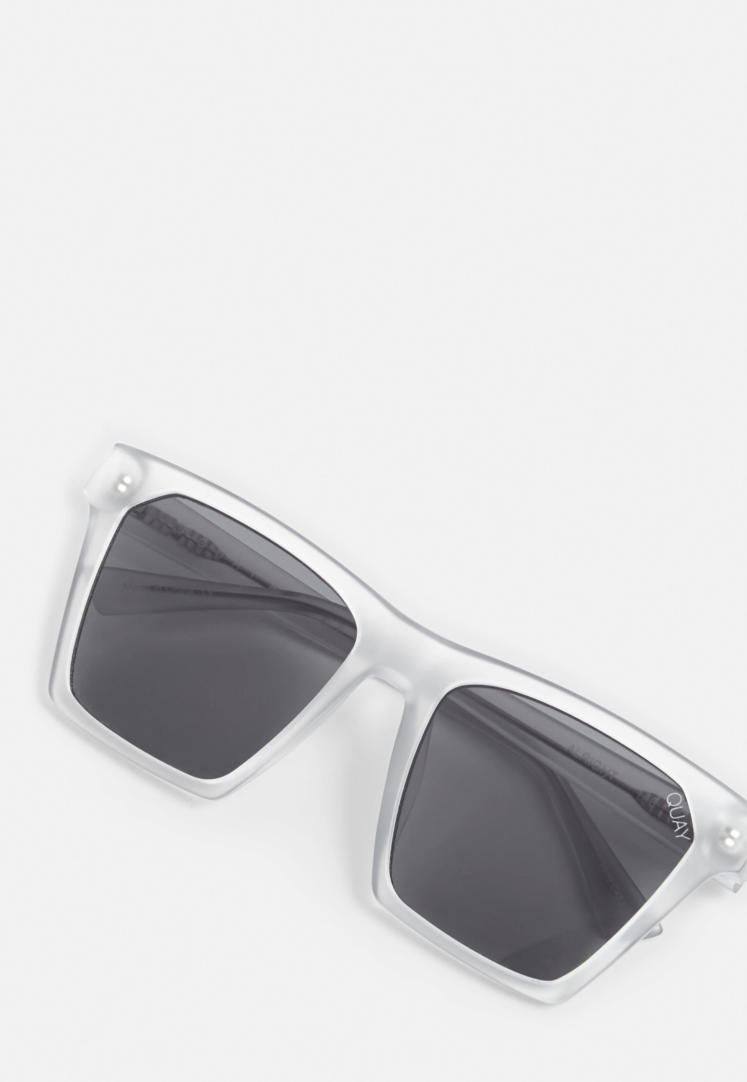 Missguided Quay Australia X Frosted White/smoke Alright Sunglasses
