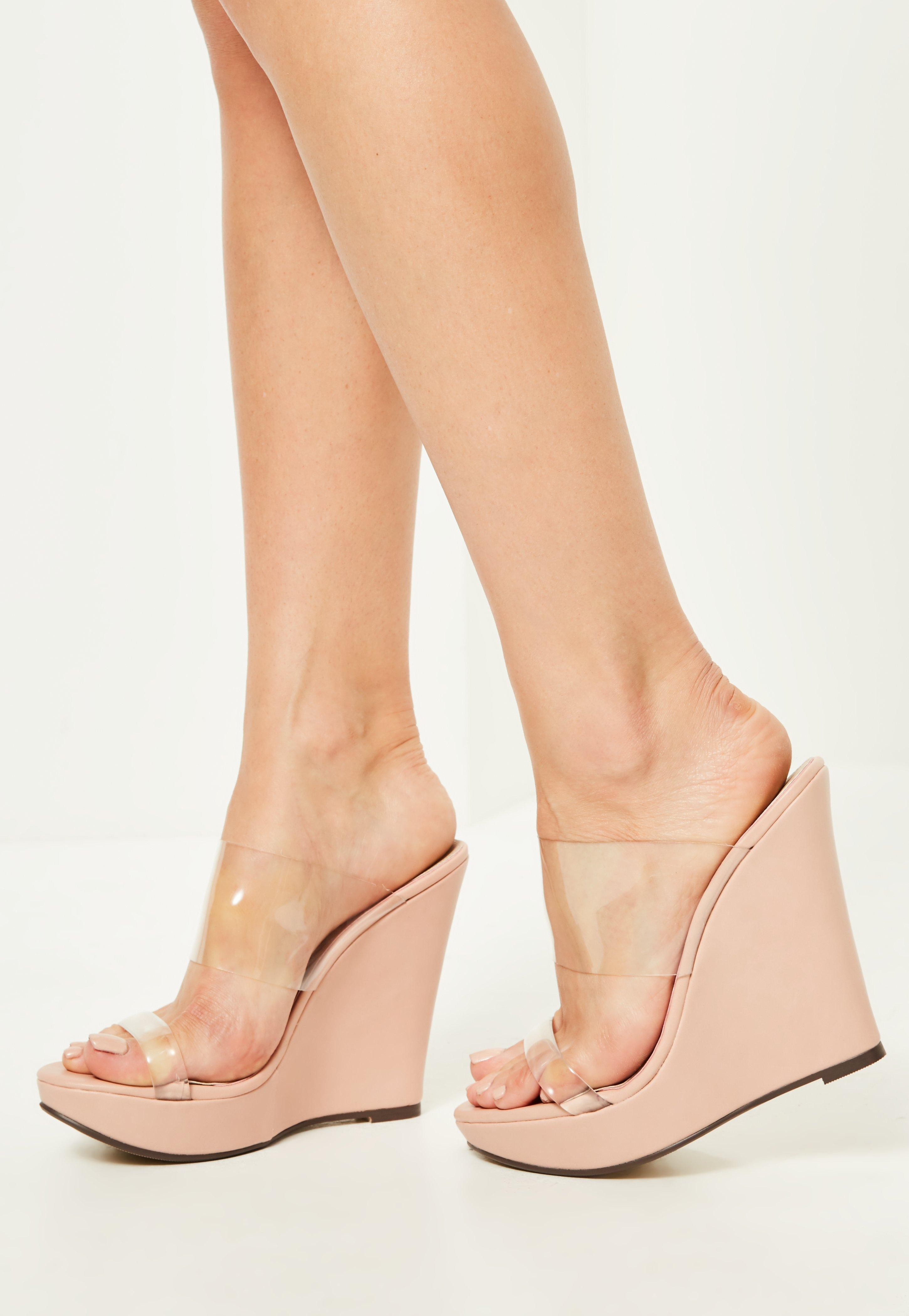 1cb12acd173 Lyst - Missguided Nude Clear Double Strap Wedges in Natural