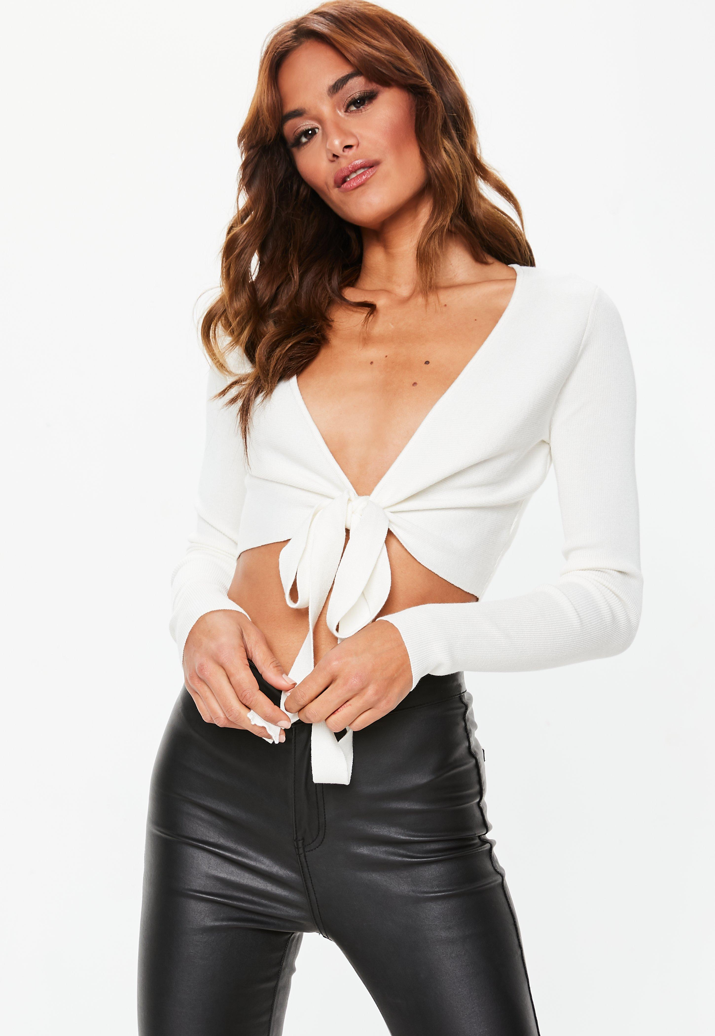 6750c89ae1ef1 Missguided. Women s Cream Tie Front Long Sleeve Knitted Crop Top