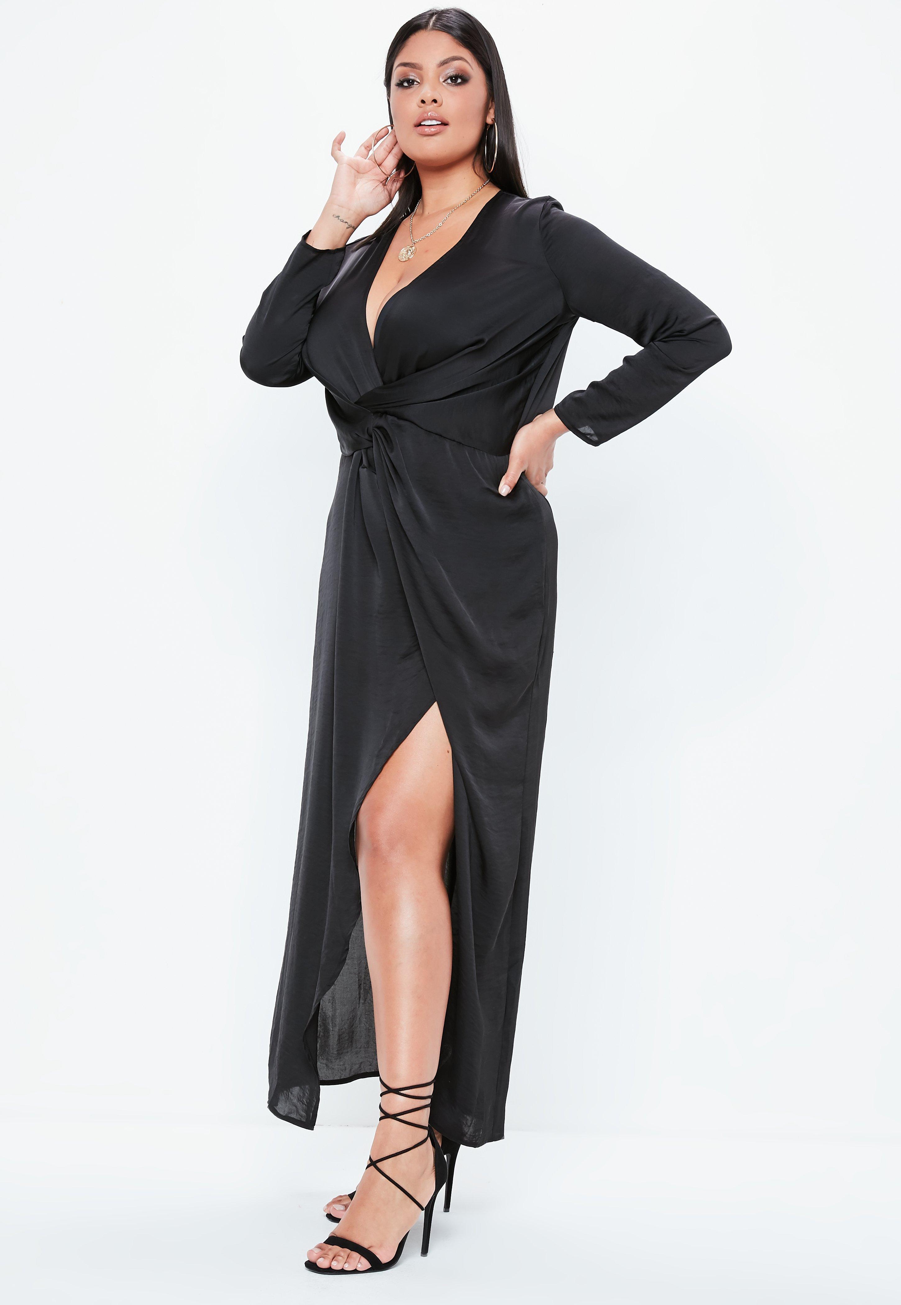 6e9bc88722f9 Missguided - Plus Size Black Satin Thigh Split Wrap Maxi Dress - Lyst. View  fullscreen