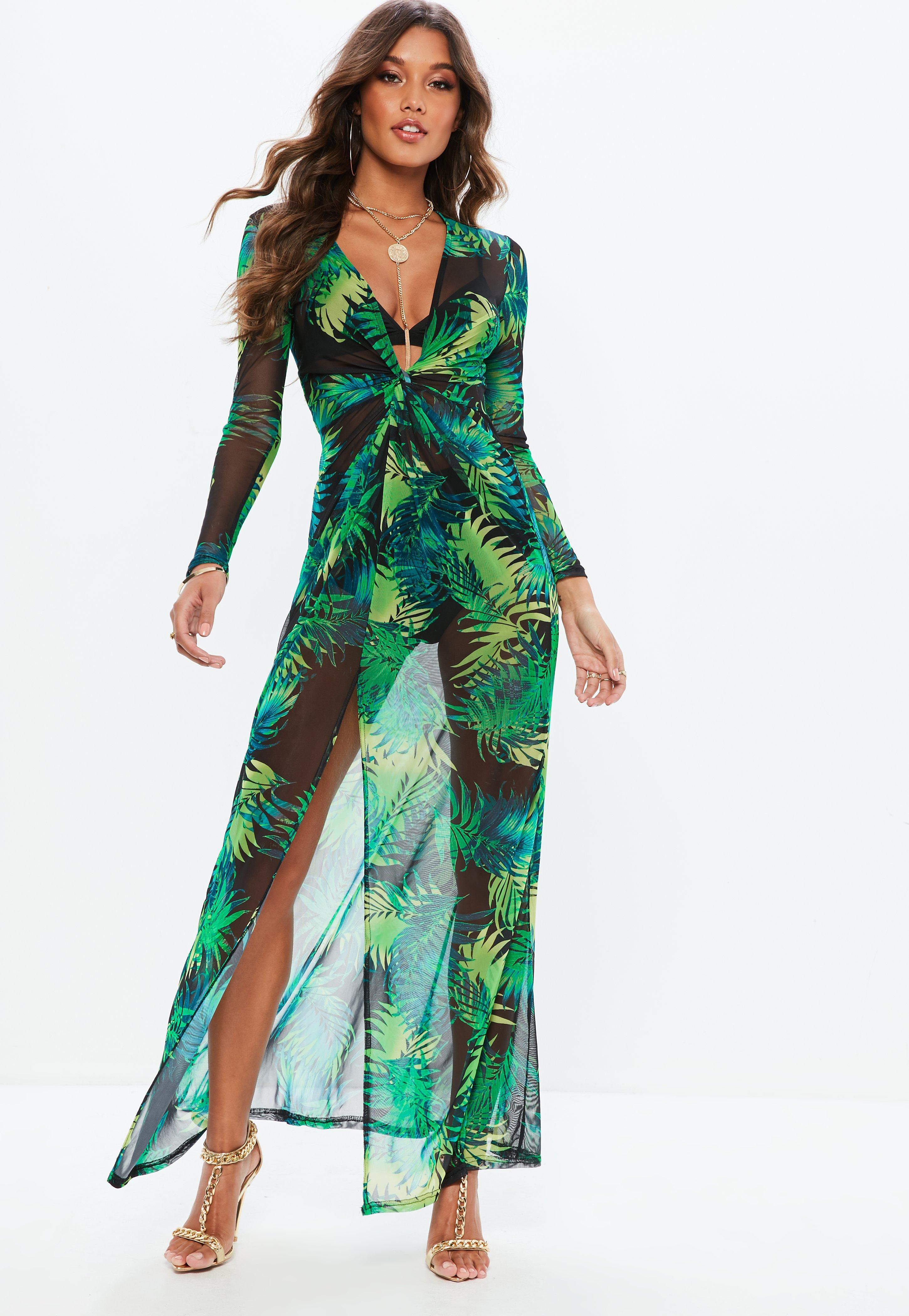 14a046cd45d Missguided Green Tropical Plunge Thigh Split Sheer Maxi Dress in ...