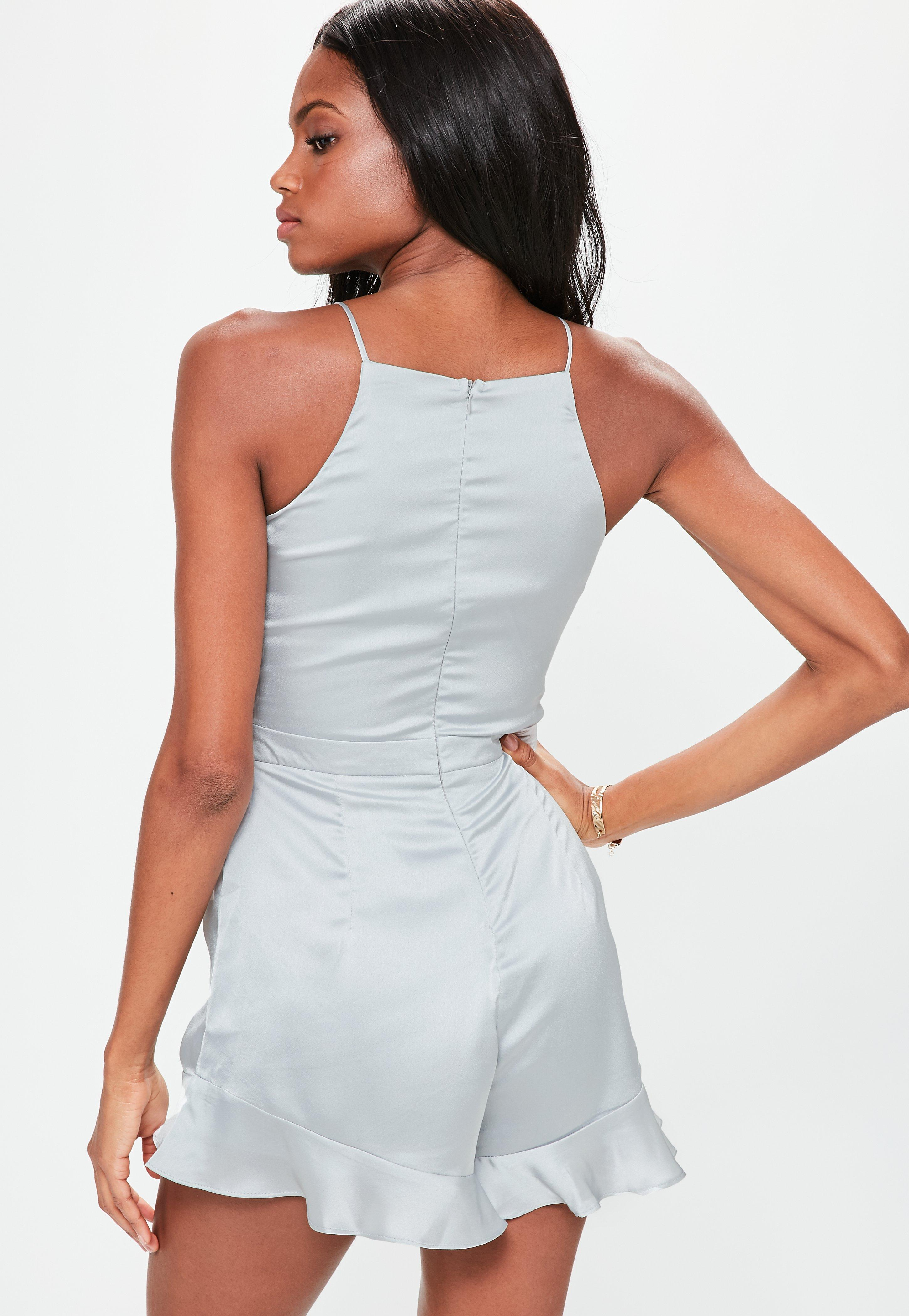 68fad90e4f Missguided Grey Satin Frill Short Playsuit in Gray - Lyst
