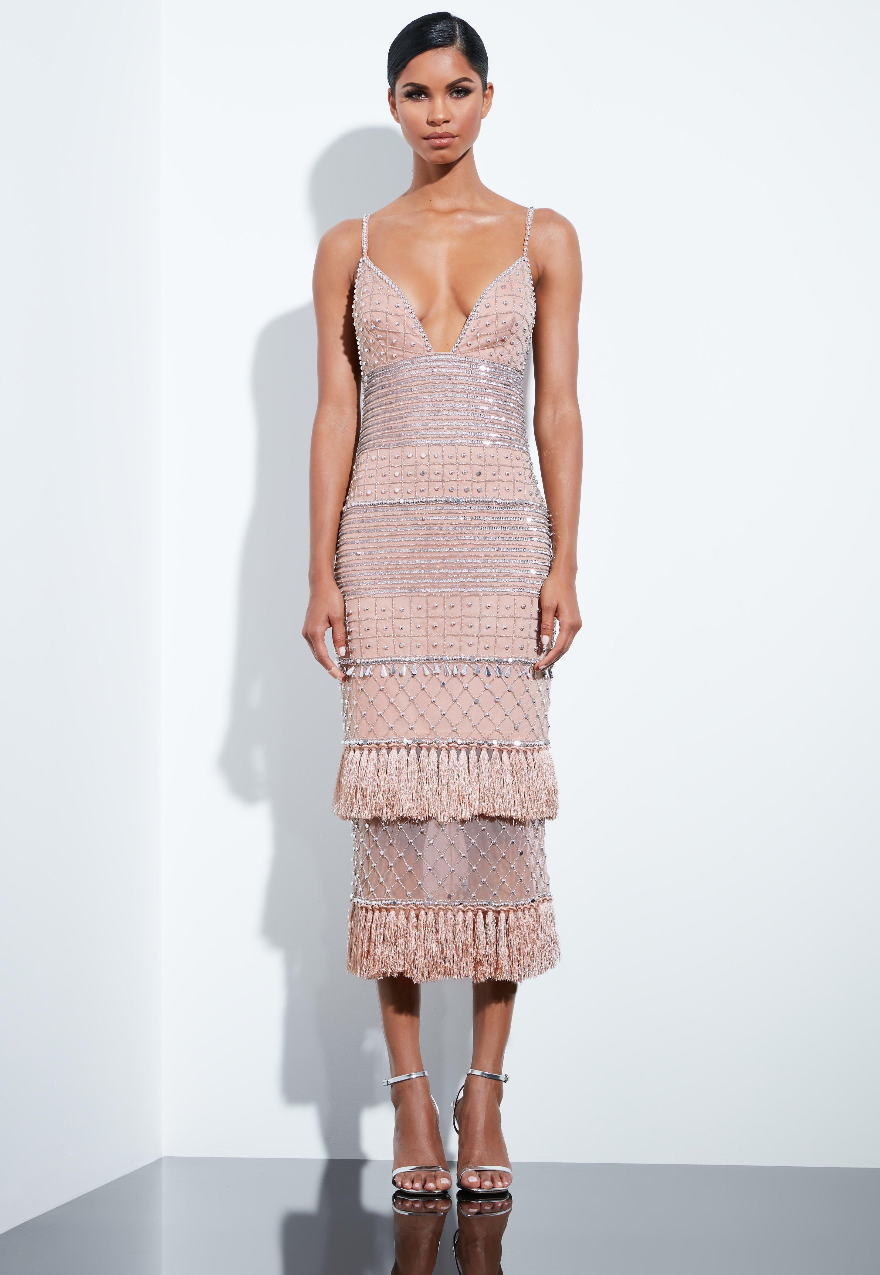 13a15dc6135f1 Missguided Multicolor Peace + Love Nude Beaded Tassel Midi Dress