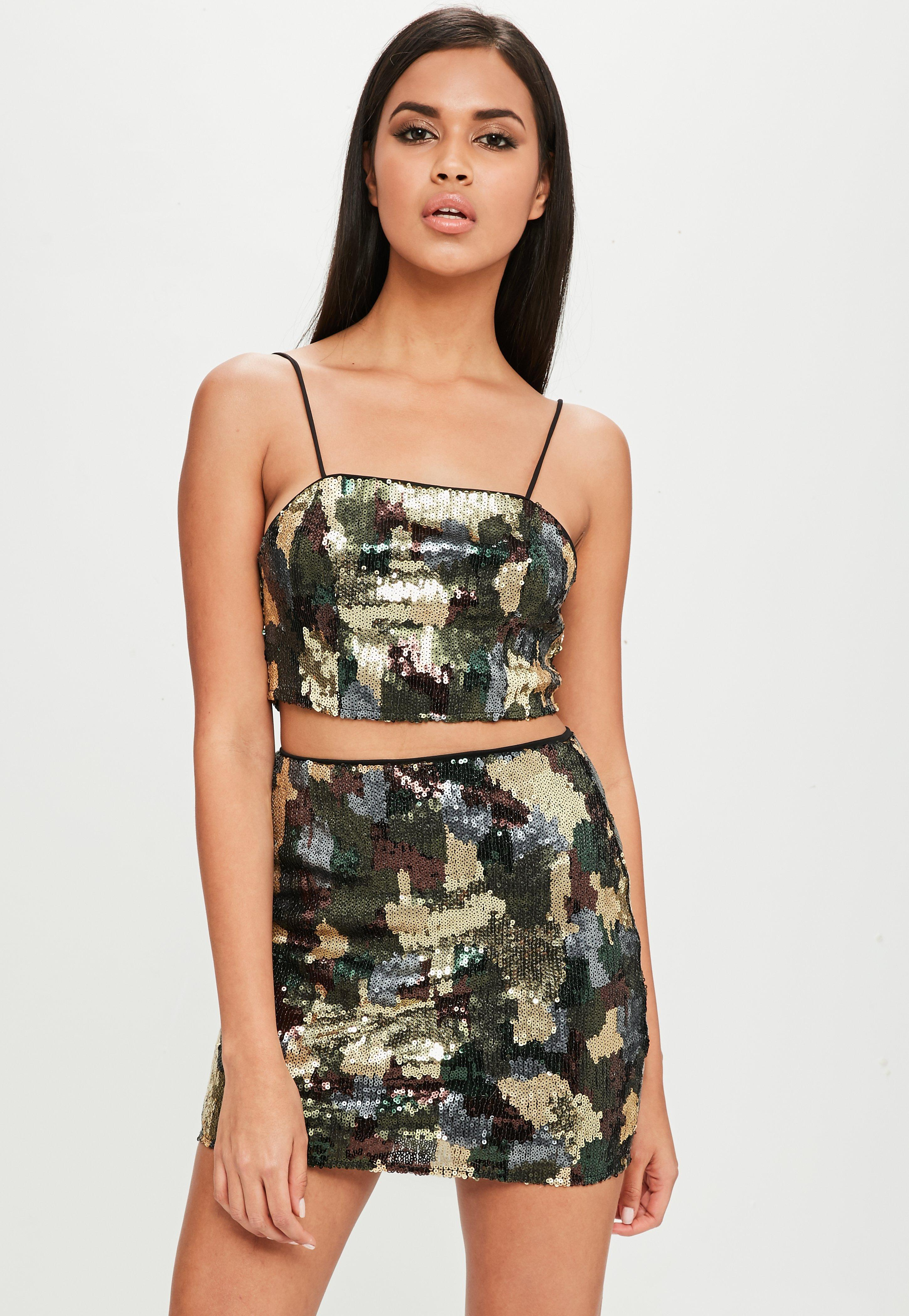 Lyst missguided carli bybel x green camo sequin skirt in for Green camo shirt outfit