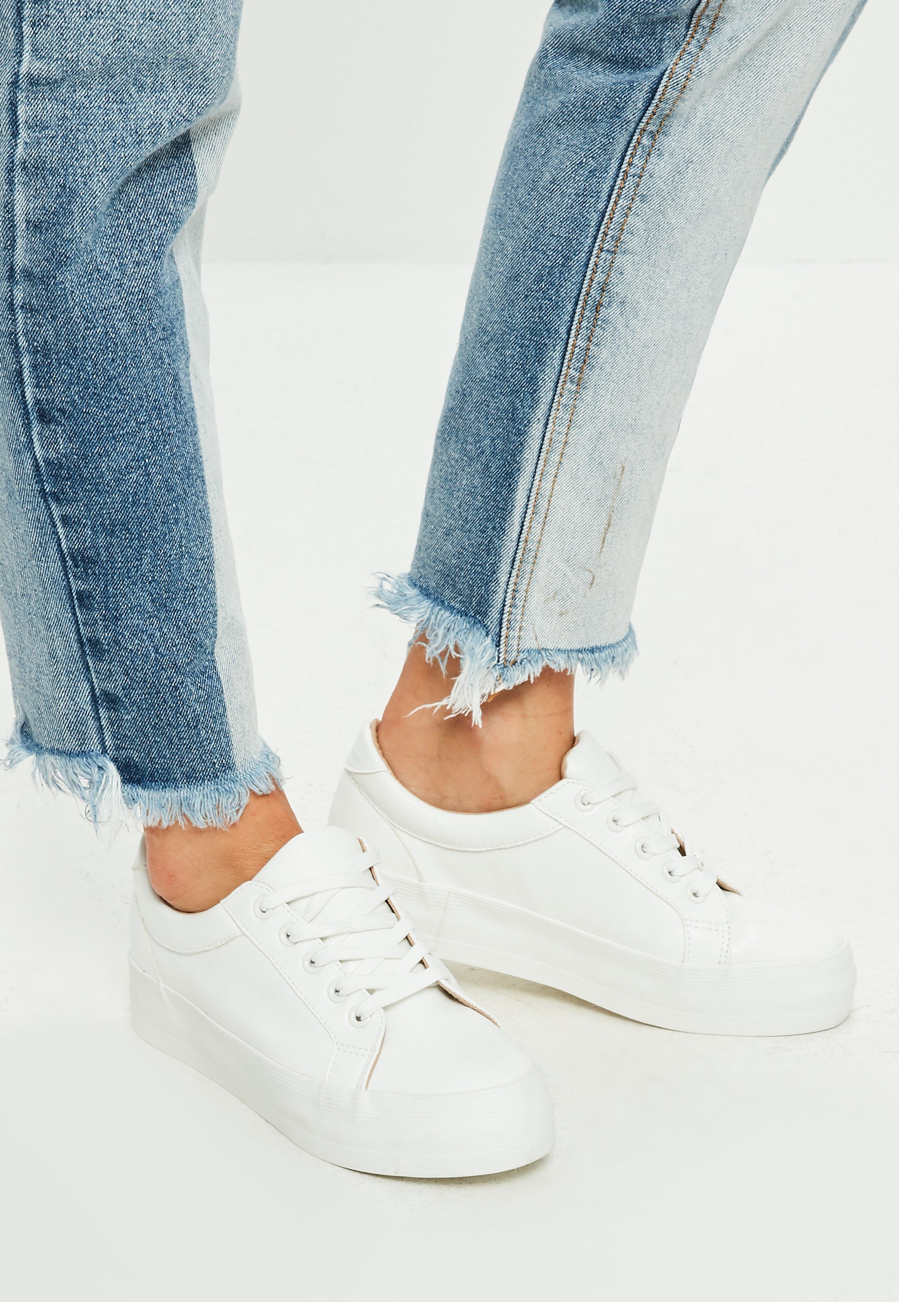 white flatform sneaker