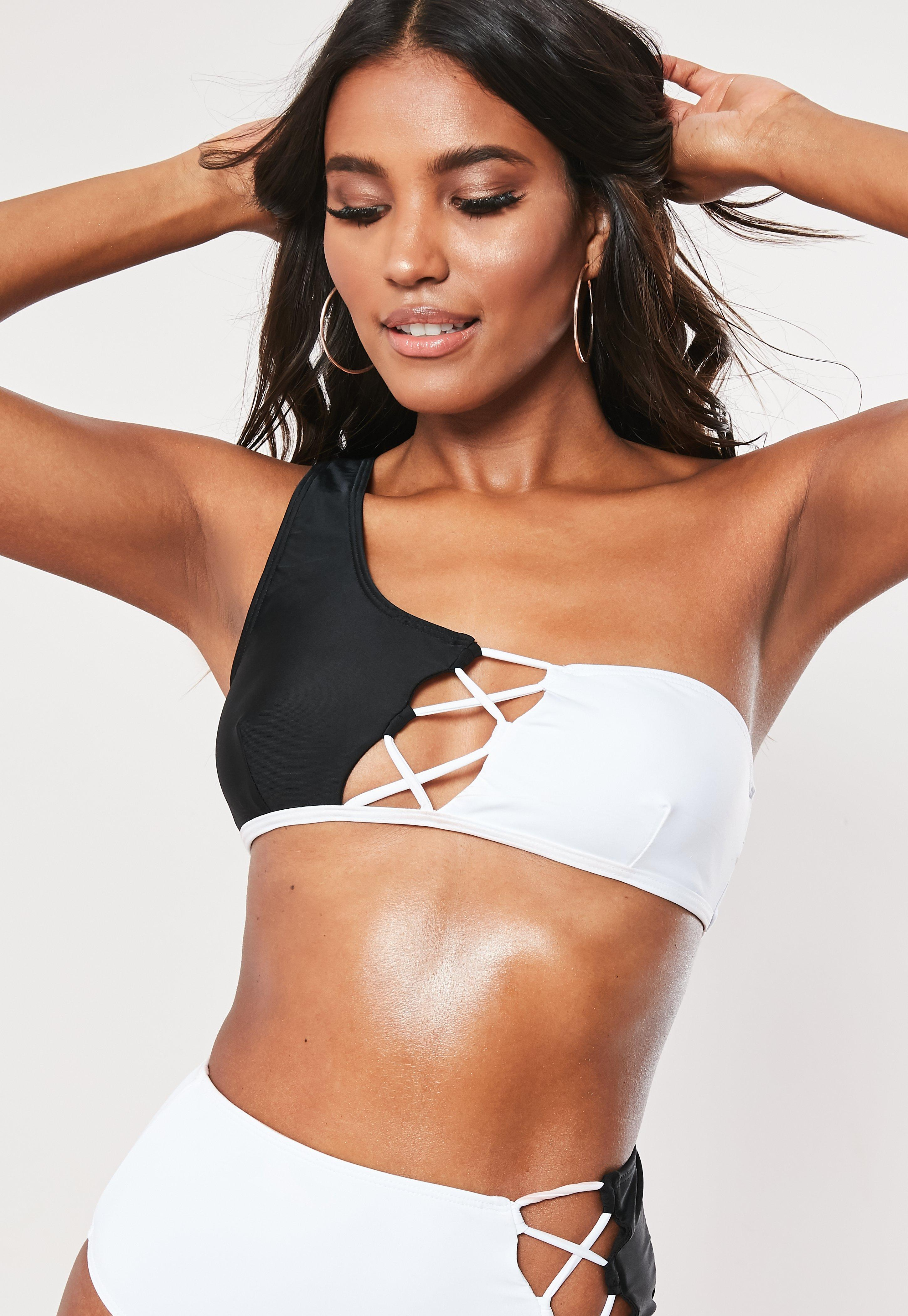 ff0babc6279 Lyst - Missguided White Lace Up Spliced One Shoulder Bikini Top in White