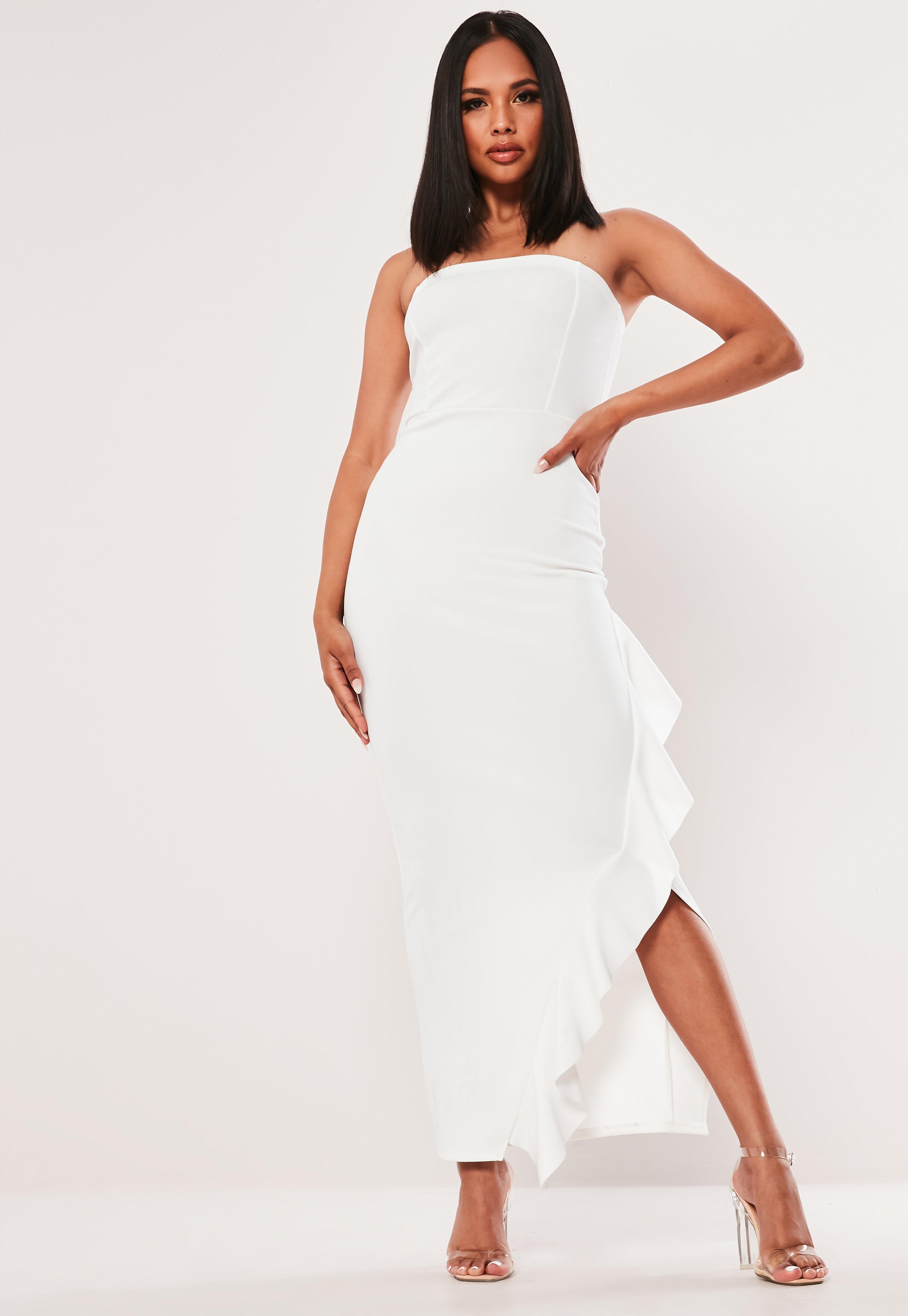 Womens Bodycon Sleeveless Fishtail Bandeau Bow Frill Ladies Bodycon Maxi Dress