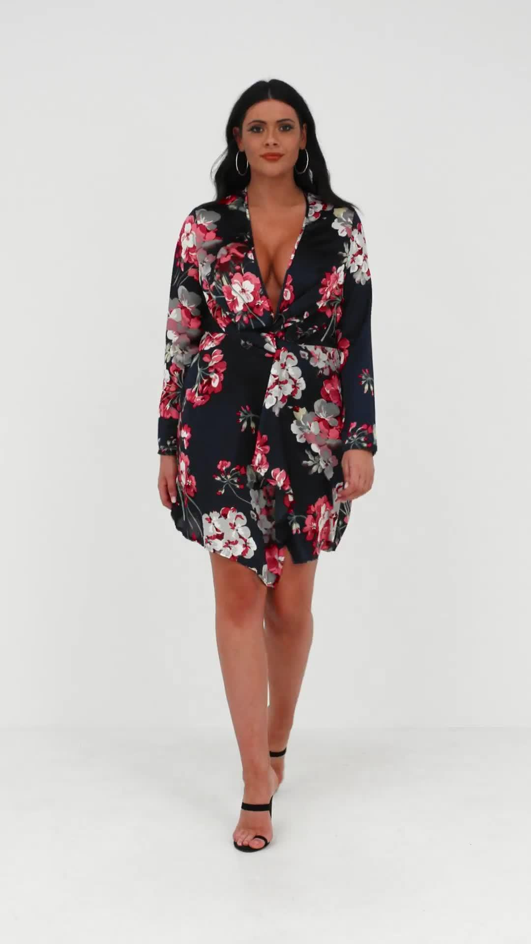 2384fa29d88c ... Plus Size Navy Floral Twist Front Dress - Lyst. View fullscreen