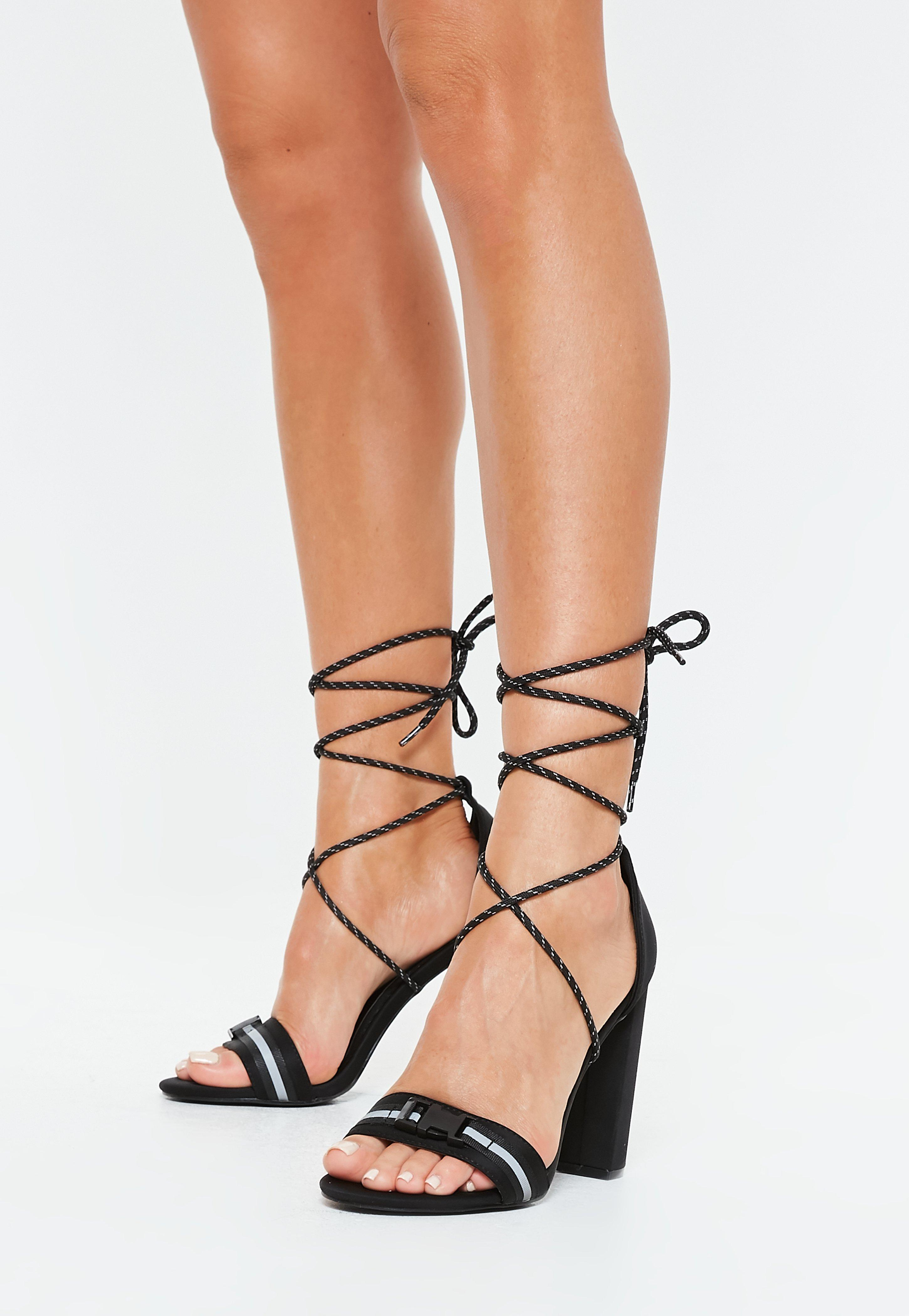 75e862c880 Missguided Black Reflective Strap Block Heel Sandals in Black - Lyst