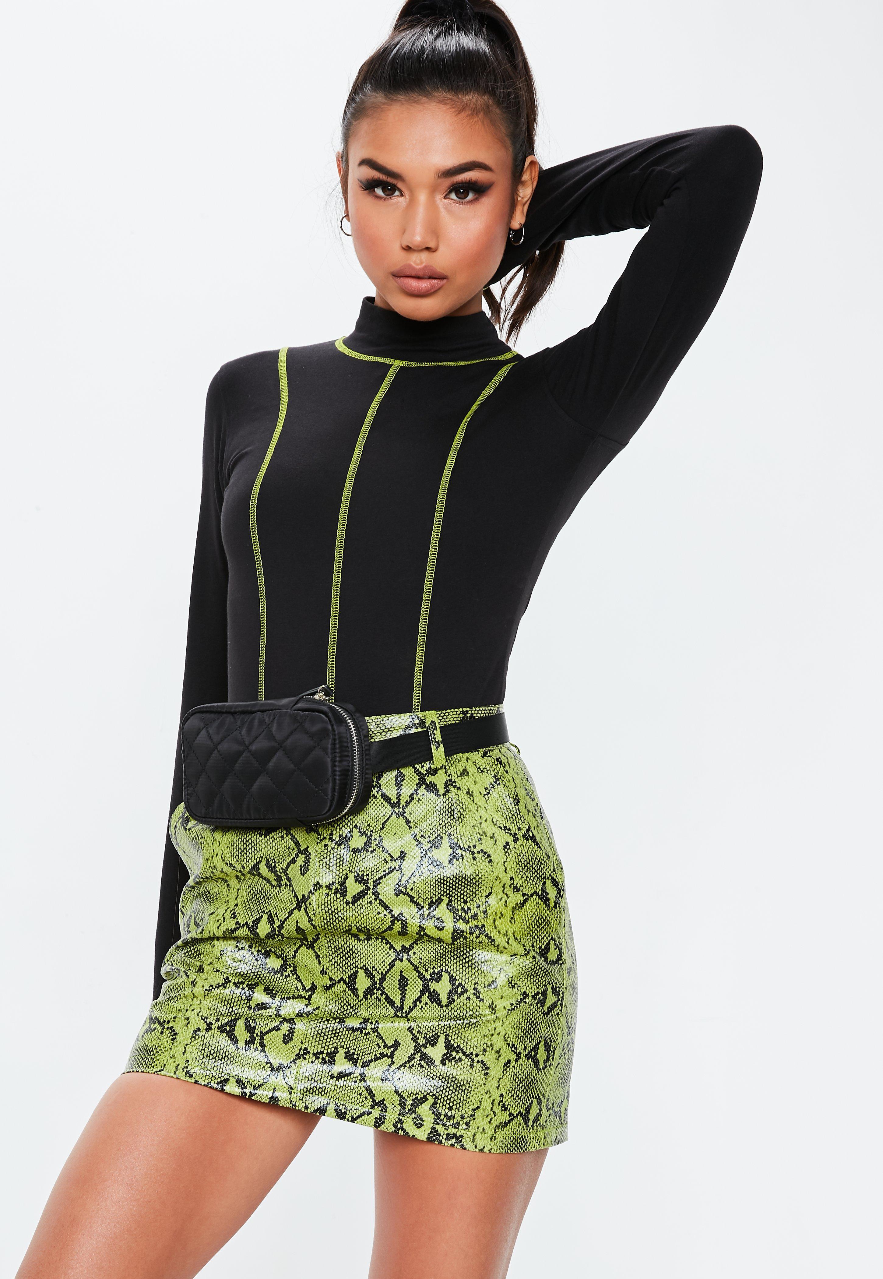 dcae00bf4baf Lyst - Missguided Tall Black Contrast Stitch Bodysuit in Black ...