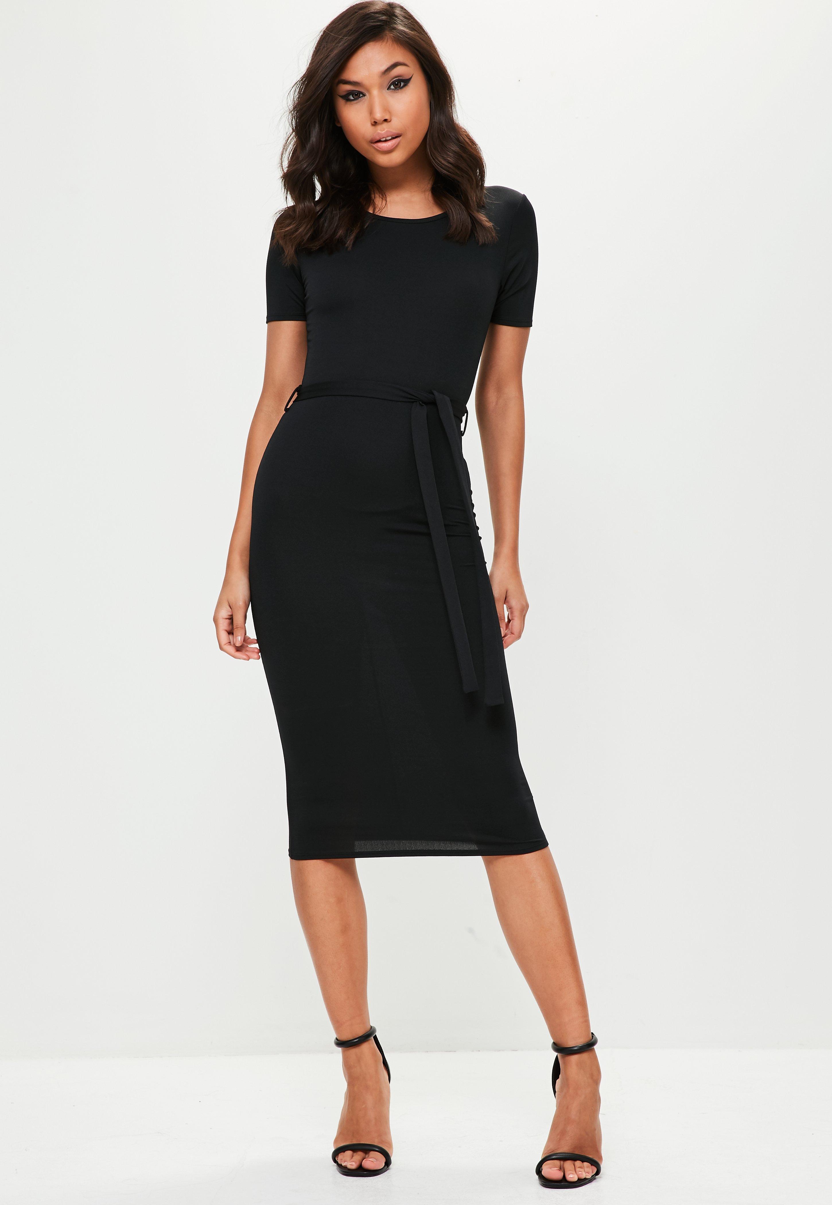 lyst missguided black short sleeve tie waist midi dress