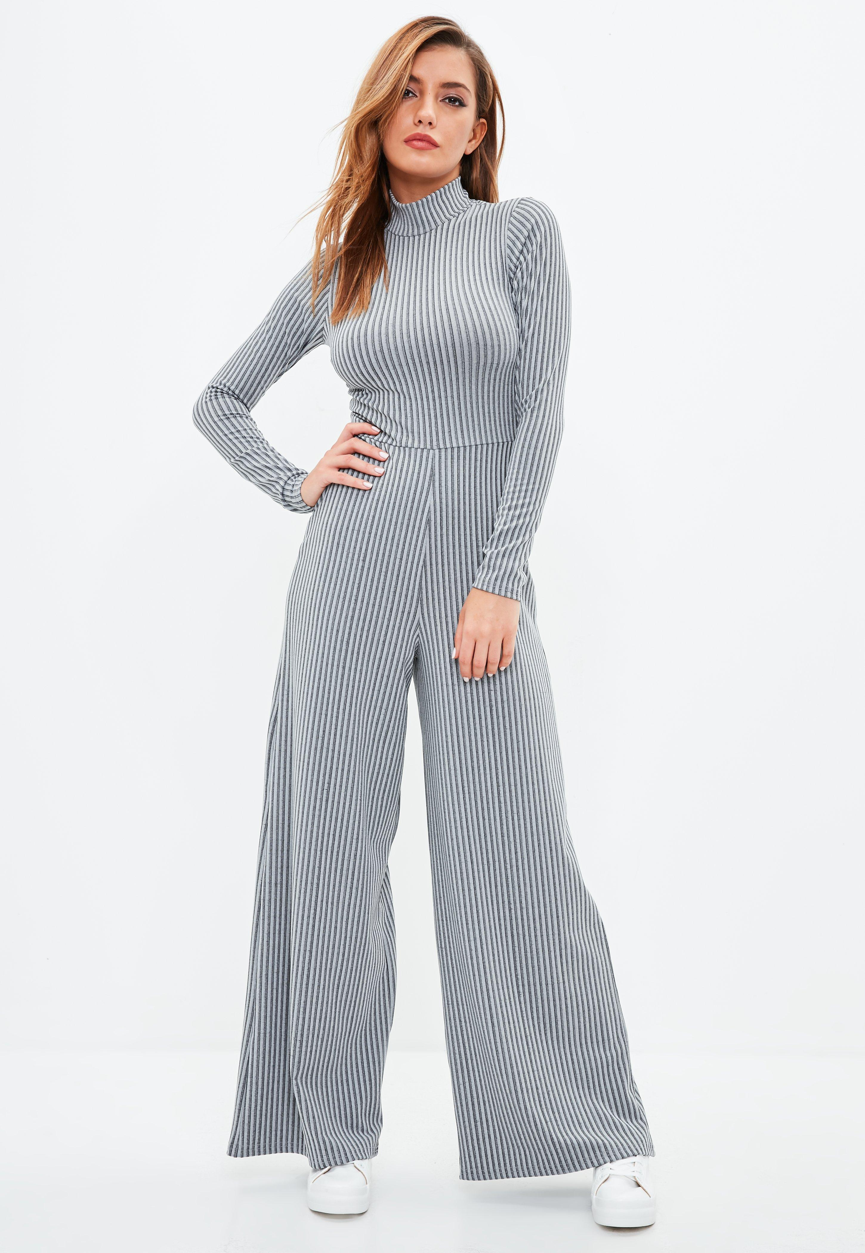 20407d9648b5 Missguided Grey Rib High Neck Wide Leg Jumpsuit in Gray - Lyst