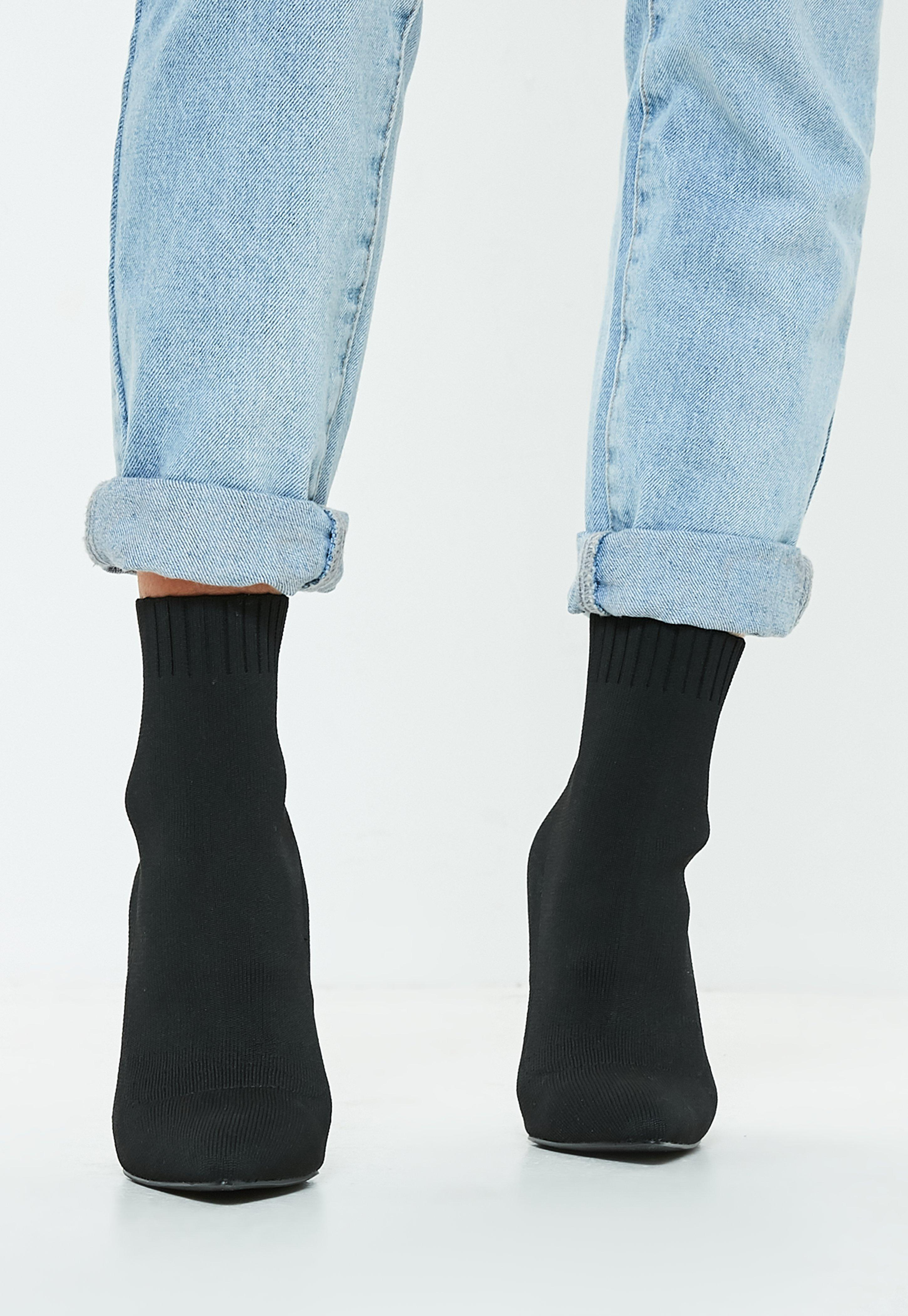 Knitted Pointed Toe Sock Ankle Boots