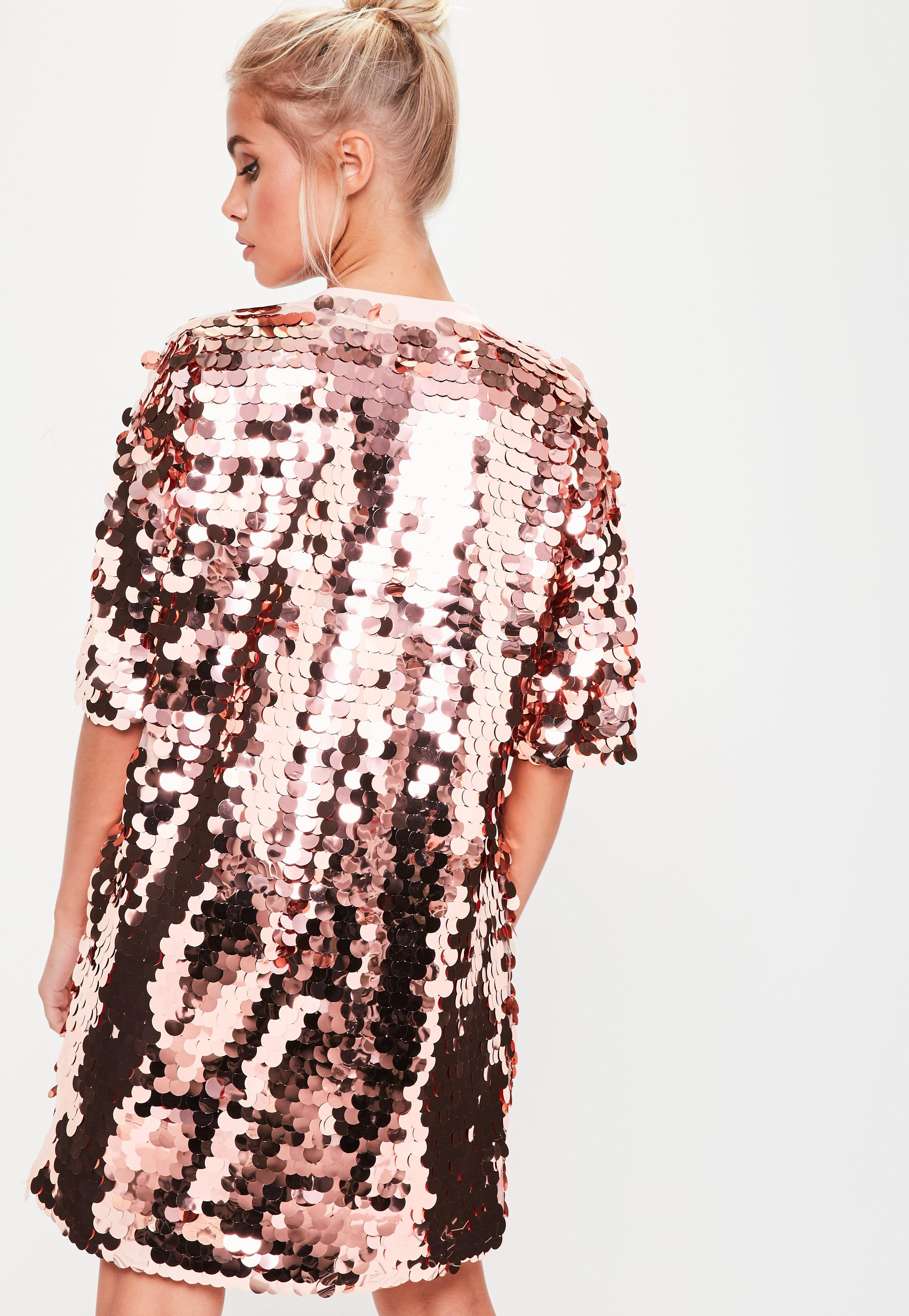1b30447a5b2a3 Lyst - Missguided Rose Gold Sequin T-shirt Dress in Pink