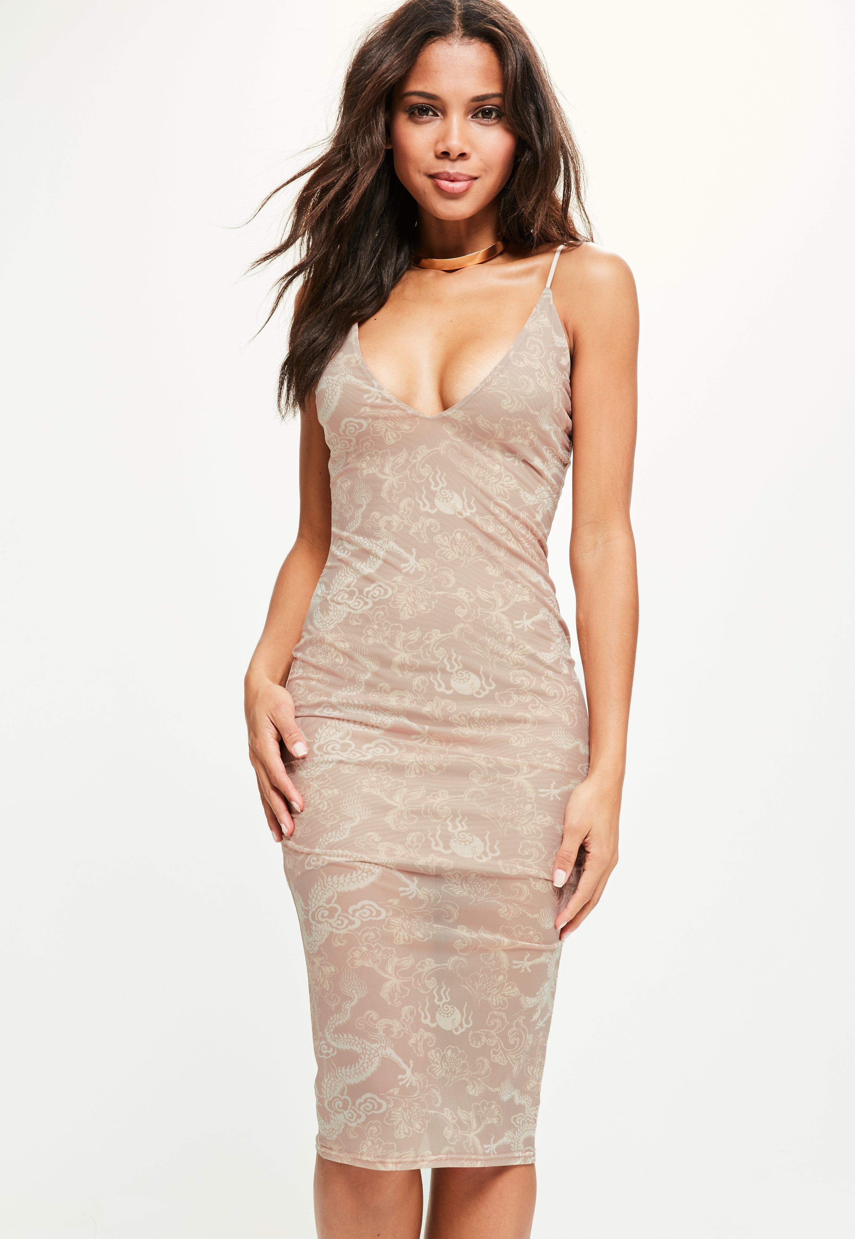 11580884994a Missguided Tan Strappy Oriental Mesh Print Midi Dress in Brown - Lyst