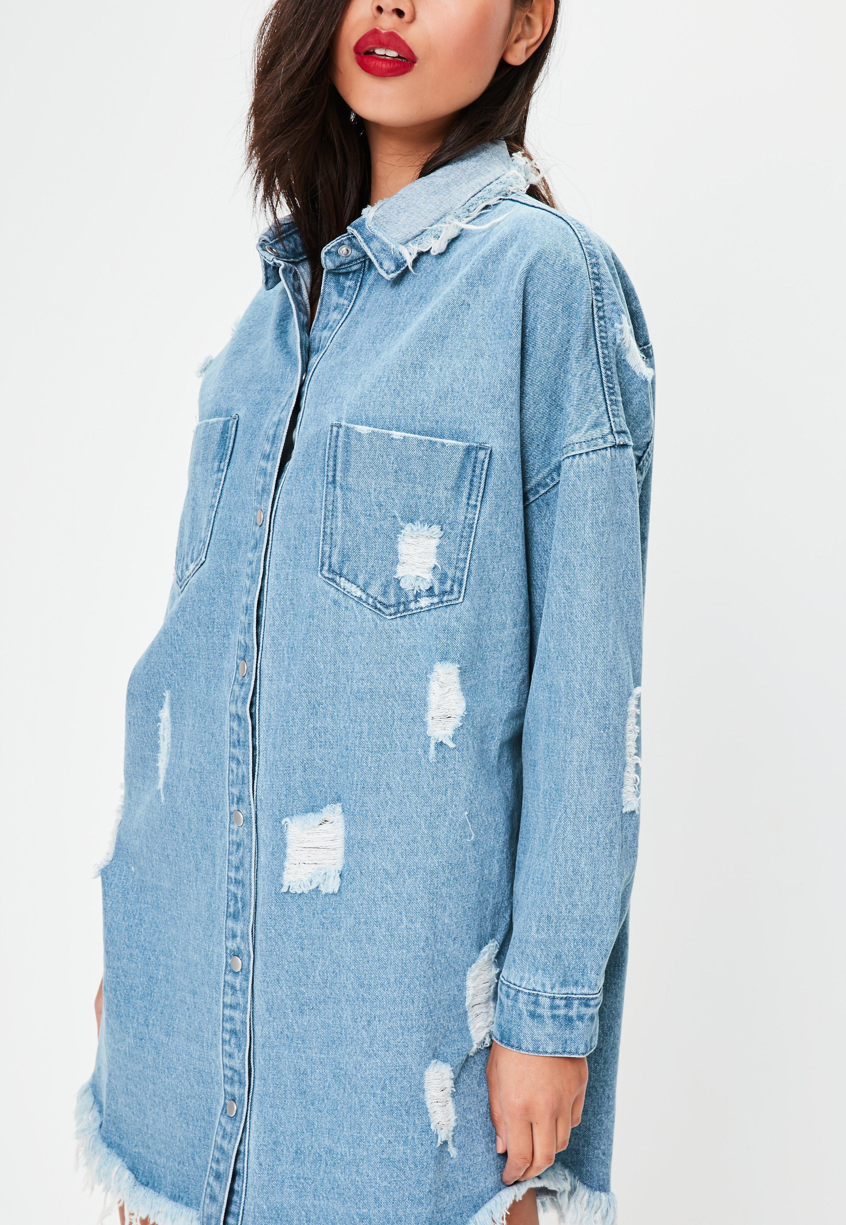 Missguided Blue Ripped Oversized Shacket