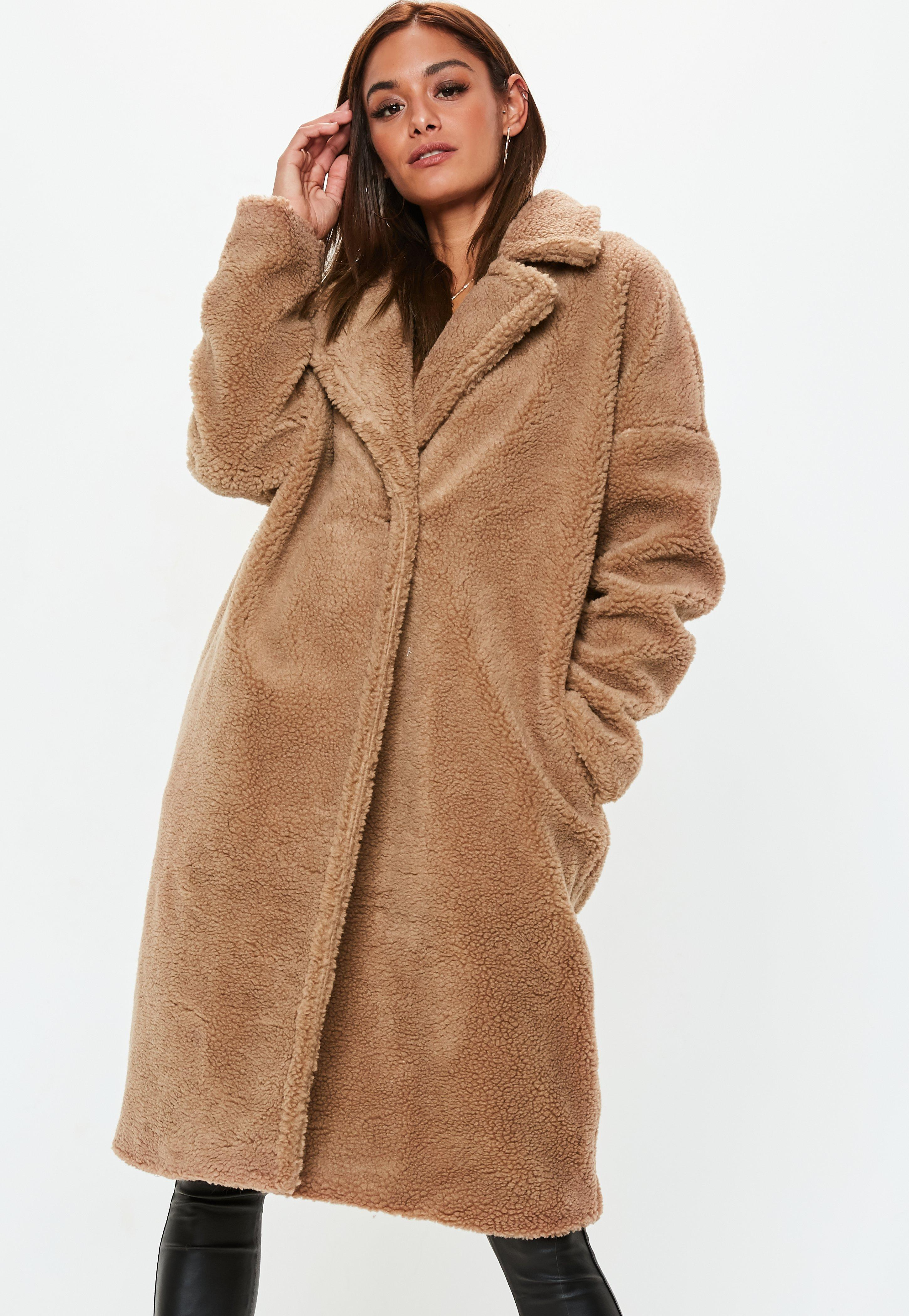 023a11de4b296 Missguided - Natural Camel Chunky Borg Teddy Coat - Lyst. View fullscreen