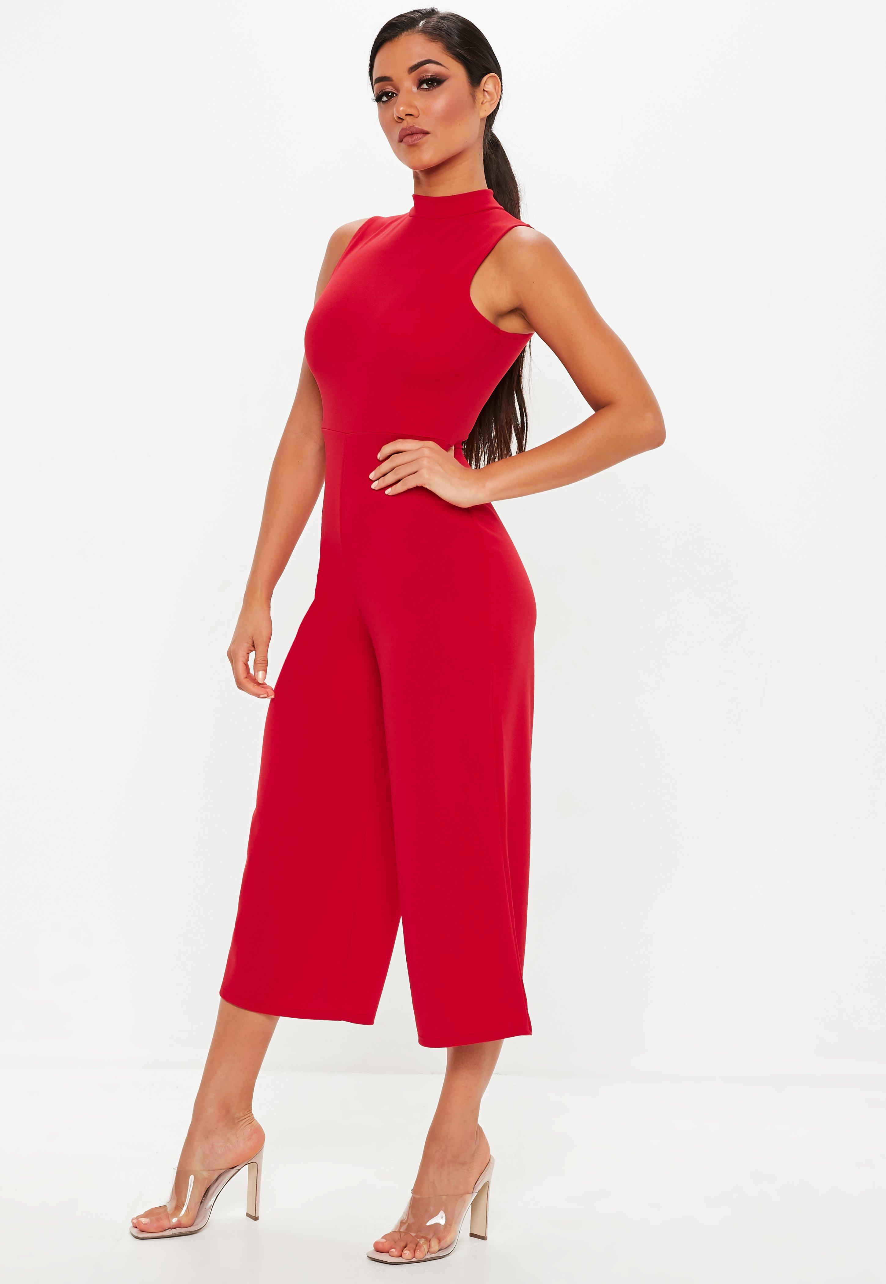 032353975e9 Lyst - Missguided Red High Neck Culotte Jumpsuit in Red