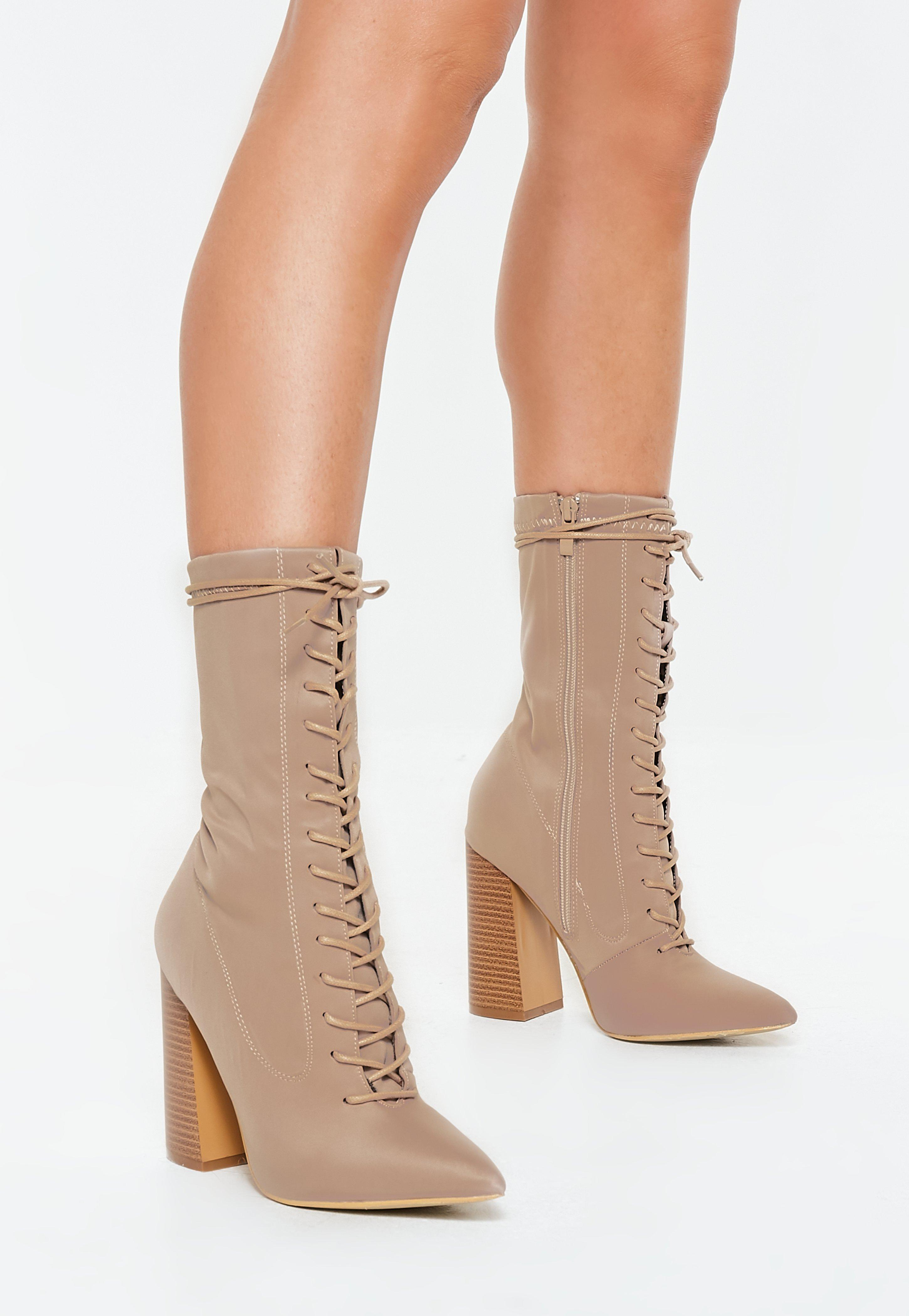 Missguided Nude Lace Up Block Heel
