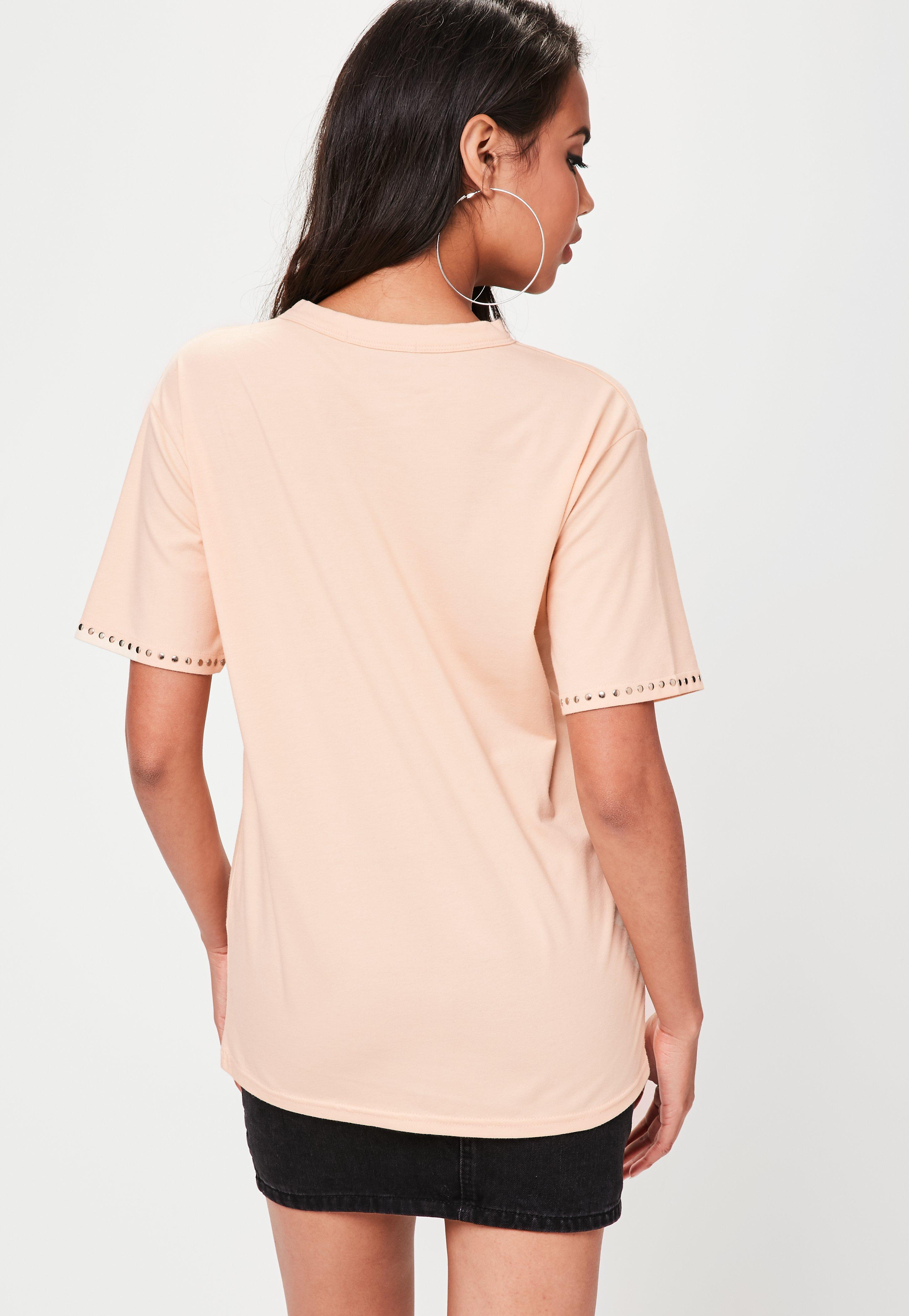 7c844875462 Lyst - Missguided Nude Stud Detail Choker Neck T-shirt in Natural