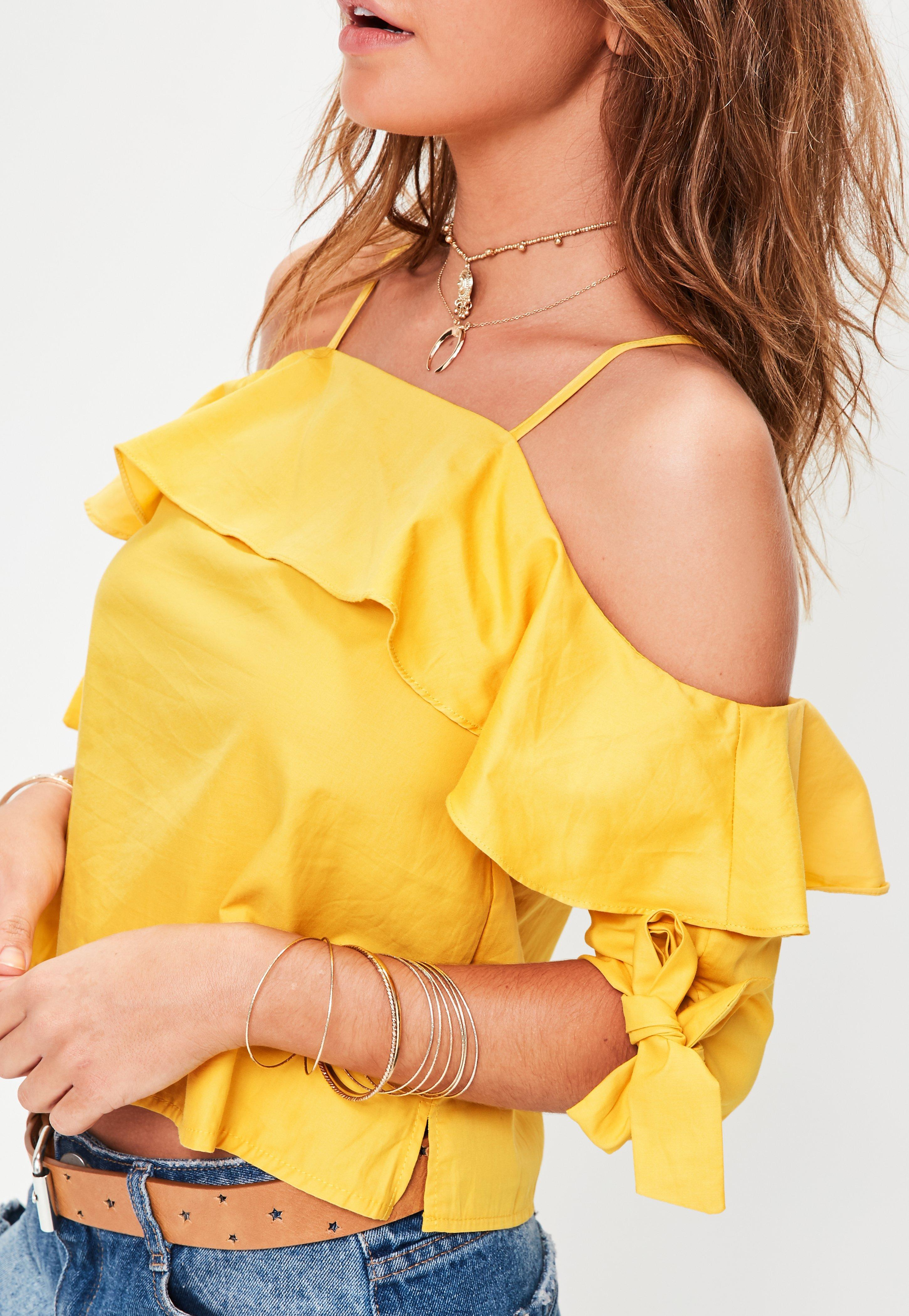 644c52338b055 Missguided Yellow Tie Sleeve Cold Shoulder Top in Yellow - Lyst